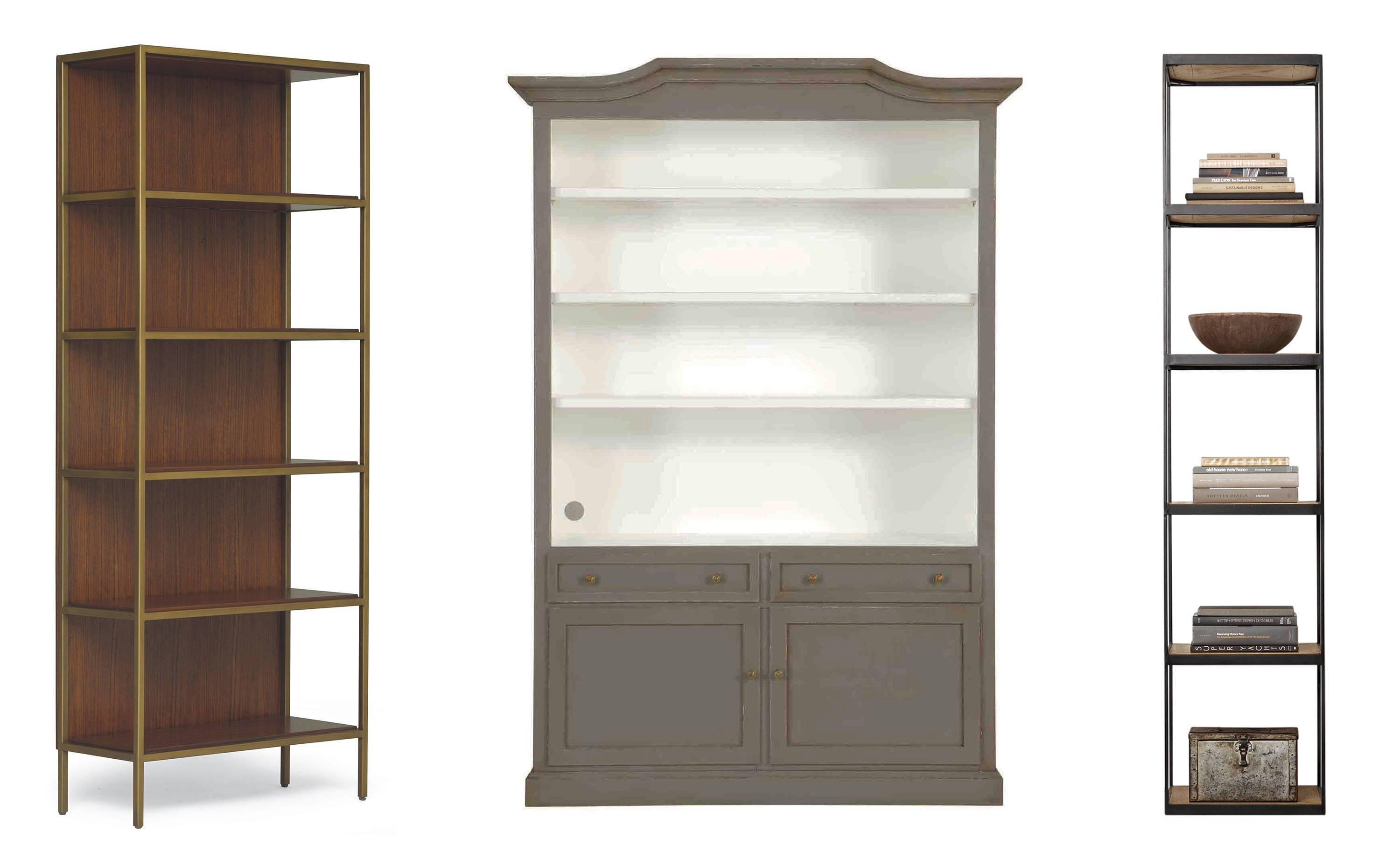The lack of sides on the VanDyke bookcase will lend spaciousness to a room (left); the Josephina bookcase from Ballard Design recalls Old World style (center); the Russian Reclaimed Tower's narrow shelves from Restoration Hardware lend themselves to piling books horizontally (right).