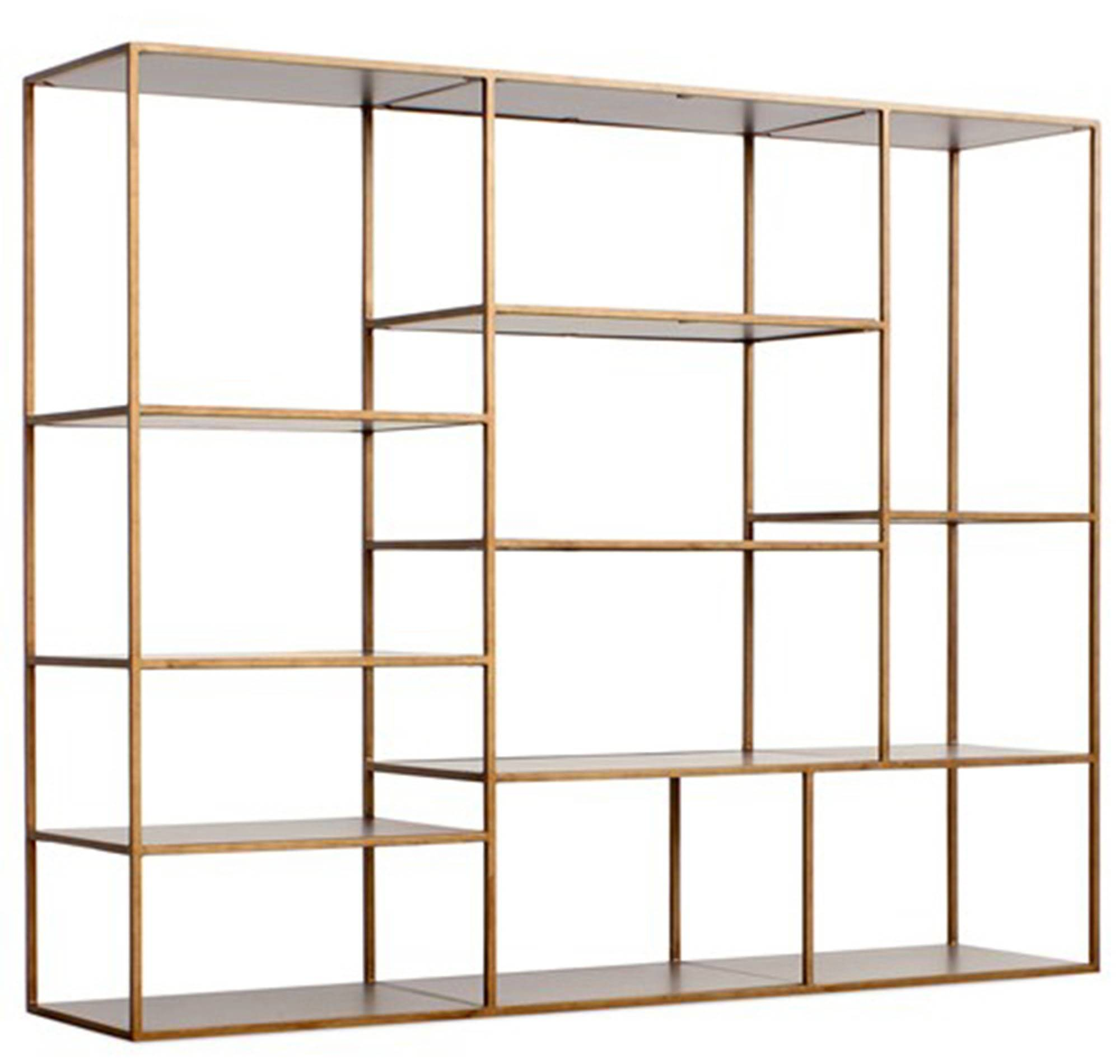 The geometric iron frames of the Emerson bookshelf by Redford House will give any room major visual impact.