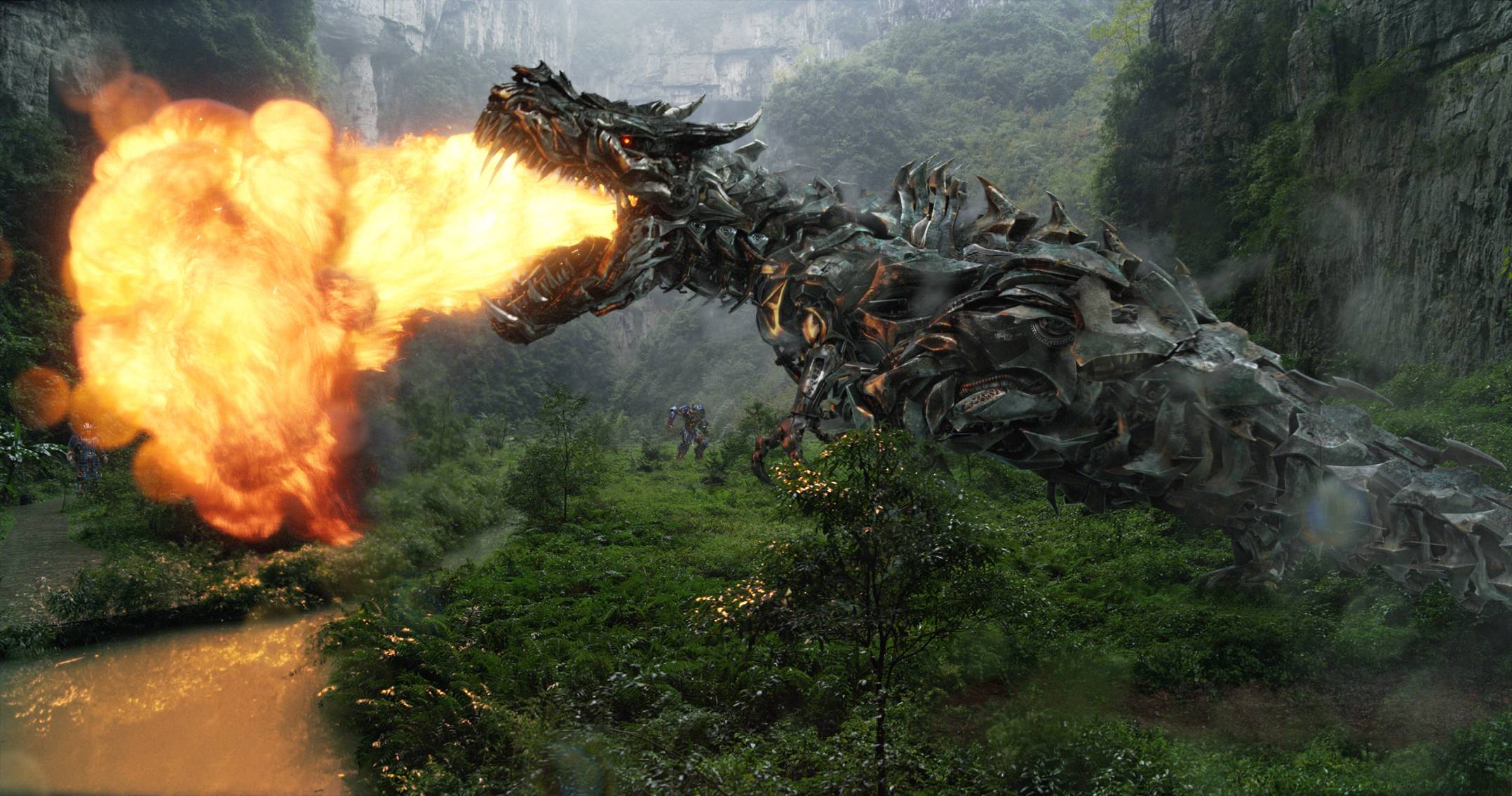 "Grimlock the Autobot dragon actually breathes fire in Michael Bay's ""Transformers: Age of Extinction."""
