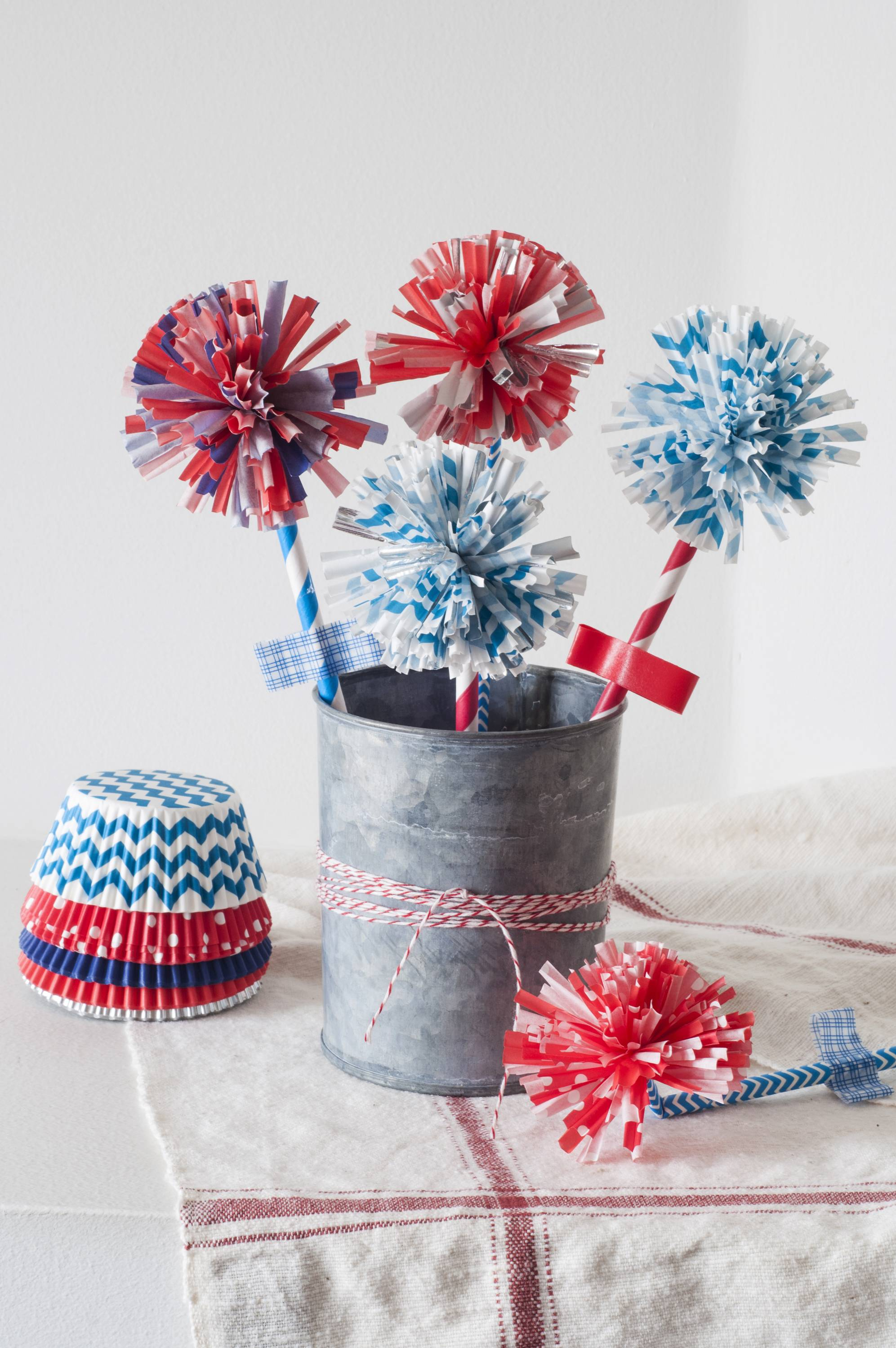 "The essential supplies for Firework Flowers, adapted from Amanda Kingloff's book ""Project Kid,"" are cupcake liners and drinking straws in red, white and blue. Children won't be able to stop at making only one, says Kingloff."
