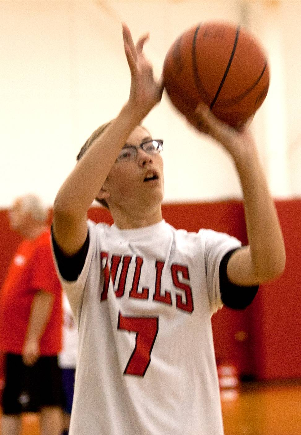 Cole Kleiner of Wisconsin perfects his jumper during Toni Kukoc's youth basketball camp at the Bulls/Sox Academy in Lisle.
