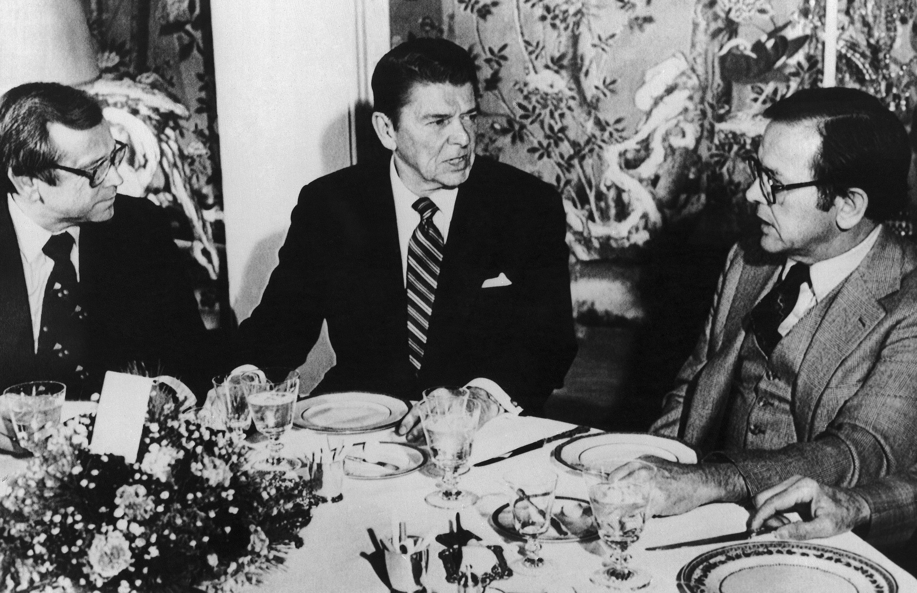 President-elect Ronald Reagan, center, talking with Sen. Ted Stevens, an Alaska Republican, right, and Sen. Howard Baker, a Tennessee Republican, during a luncheon at Blair House in Washington. Baker, who asked what President Richard Nixon knew about Watergate, has died. He was 88. Baker, a Republican, served 18 years in the Senate. He earned the respect of Republicans and Democrats alike and rose to the post of majority leader. He served as White House chief of staff at the end of the Reagan administration and was U.S. ambassador to Japan during President George W. Bush's first term