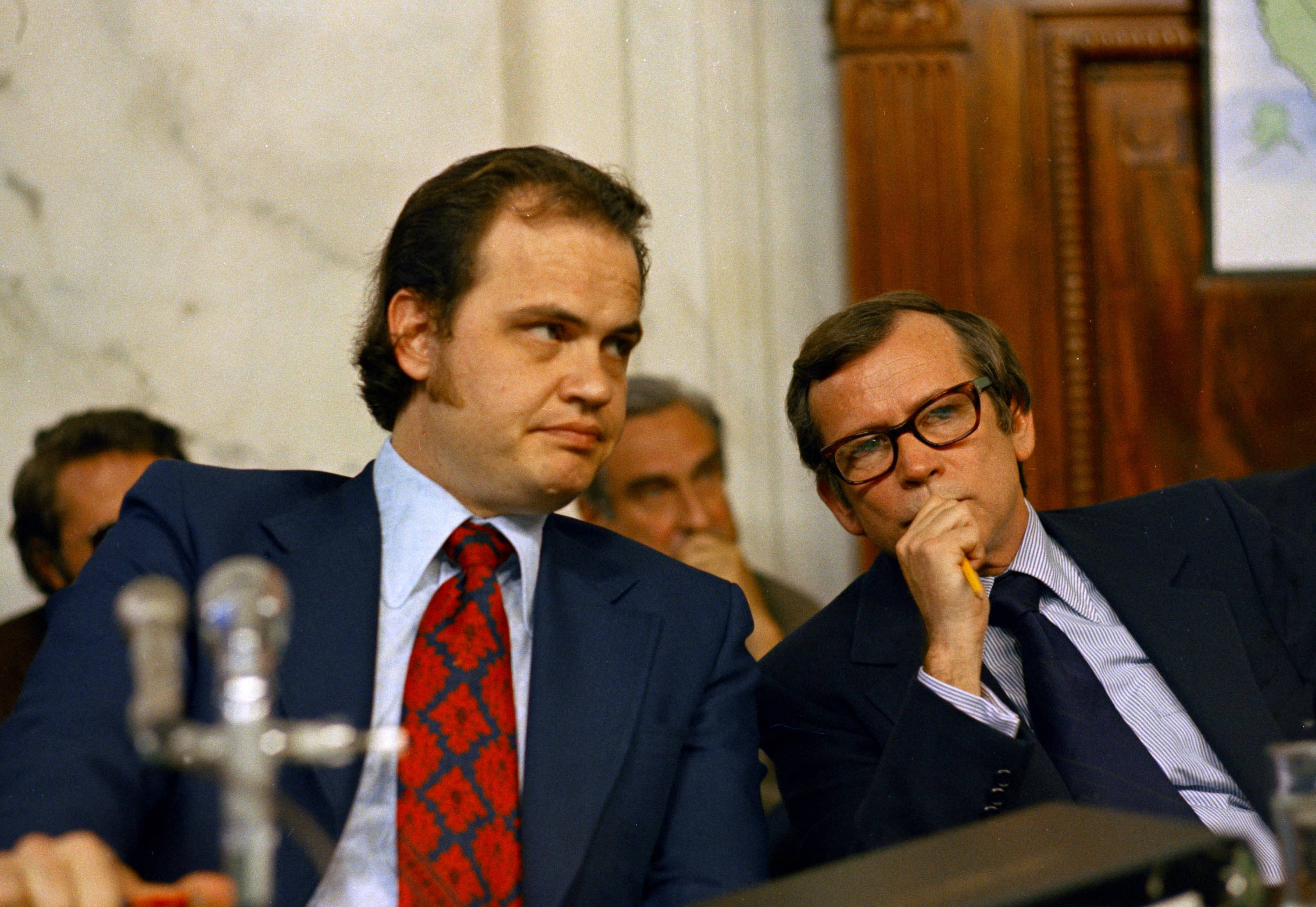 Sen. Fred D. Thompson, Chief Minority Counsel of the Senate Watergate Committee, left, talking with Sen. Howard Baker, a Tennessee Republican, during the Watergate hearings on Capitol Hill in Washington. Baker, who asked what President Richard Nixon knew about Watergate, has died. He was 88. Baker, a Republican, served 18 years in the Senate. He earned the respect of Republicans and Democrats alike and rose to the post of majority leader. He served as White House chief of staff at the end of the Reagan administration and was U.S. ambassador to Japan during President George W. Bush's first term.