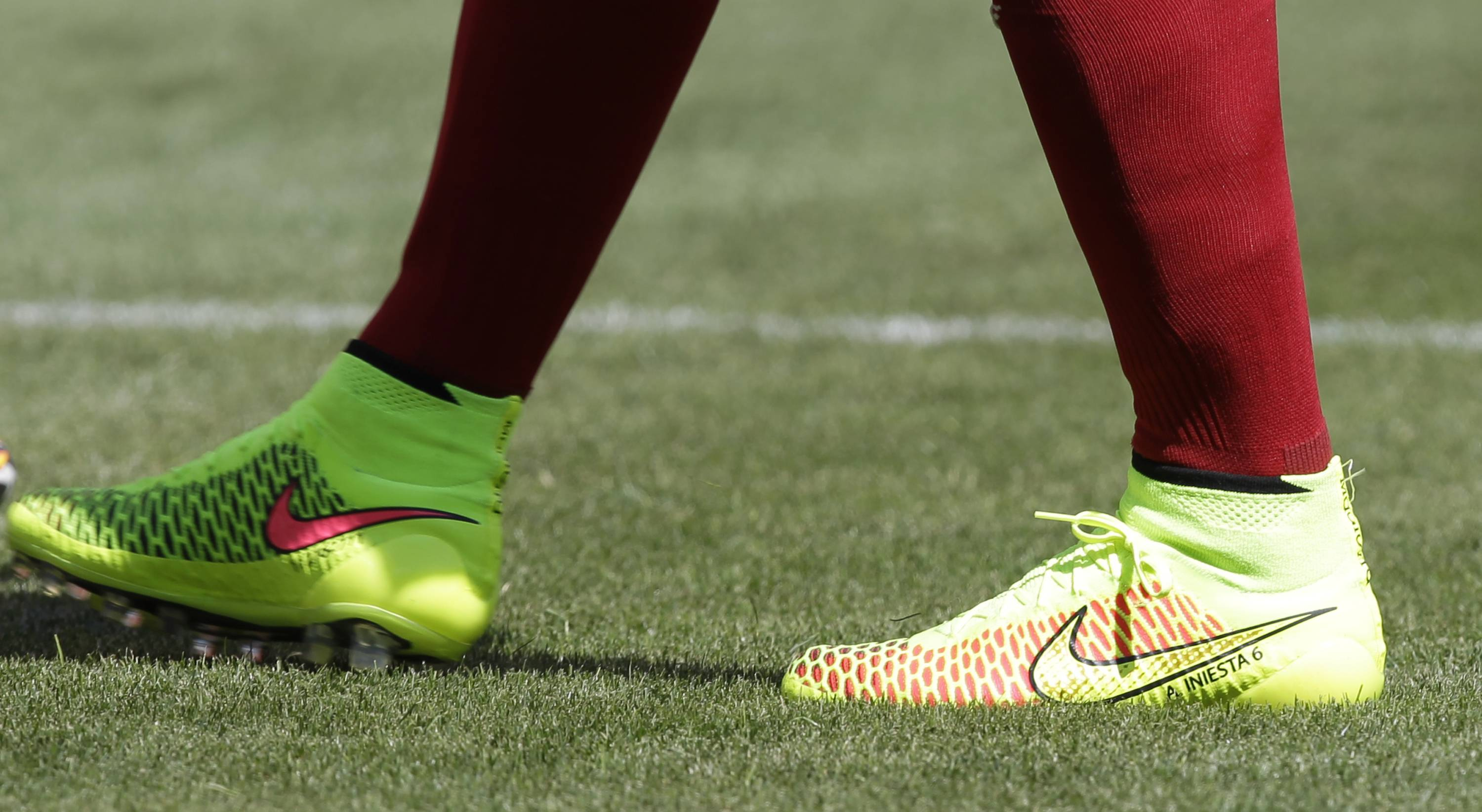 Spain's Andres Iniesta wears his Nike Magista cleats. More athletes are wearing Nike's shoes at the World Cup than all other brands combined, with more than a third of them wearing the Magista cleats.