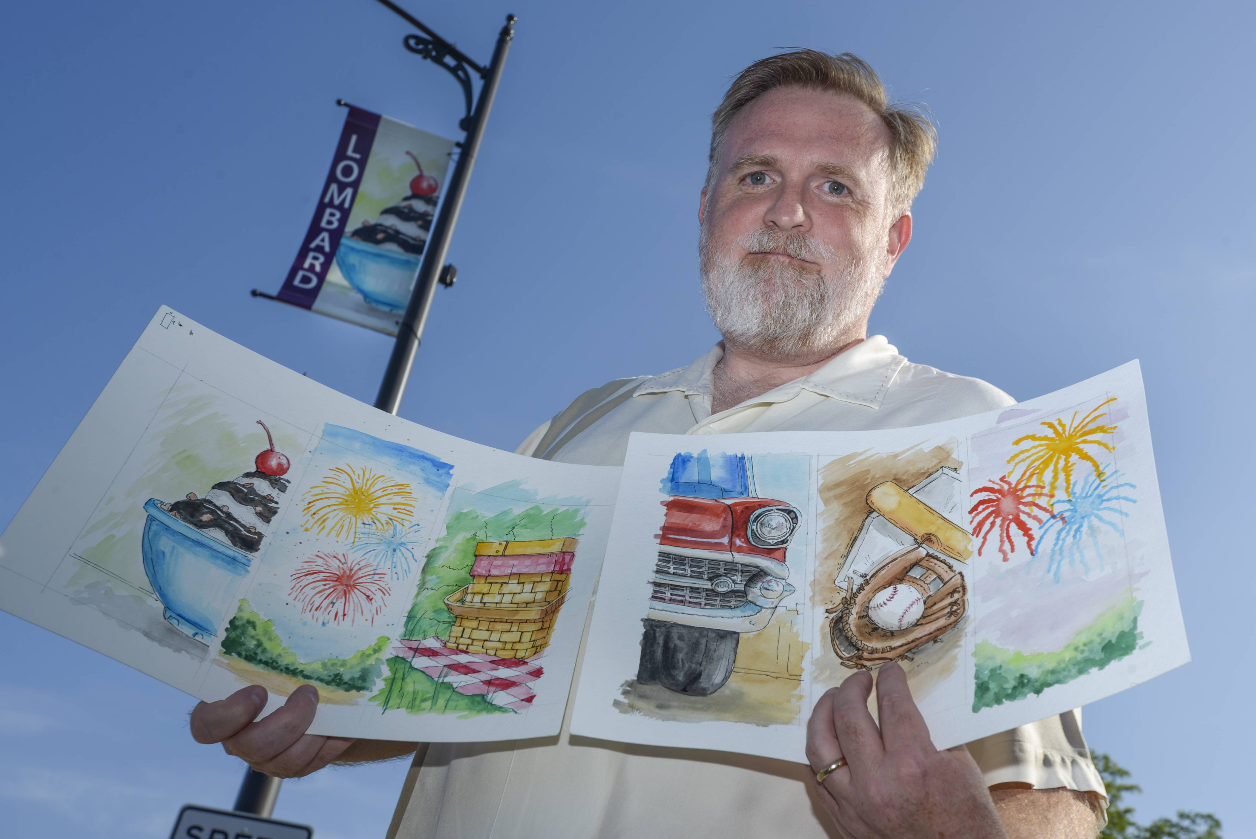 Artist Sean McMenemy of Lombard has created artwork with a summer theme that is displayed on light poles around Lombard.