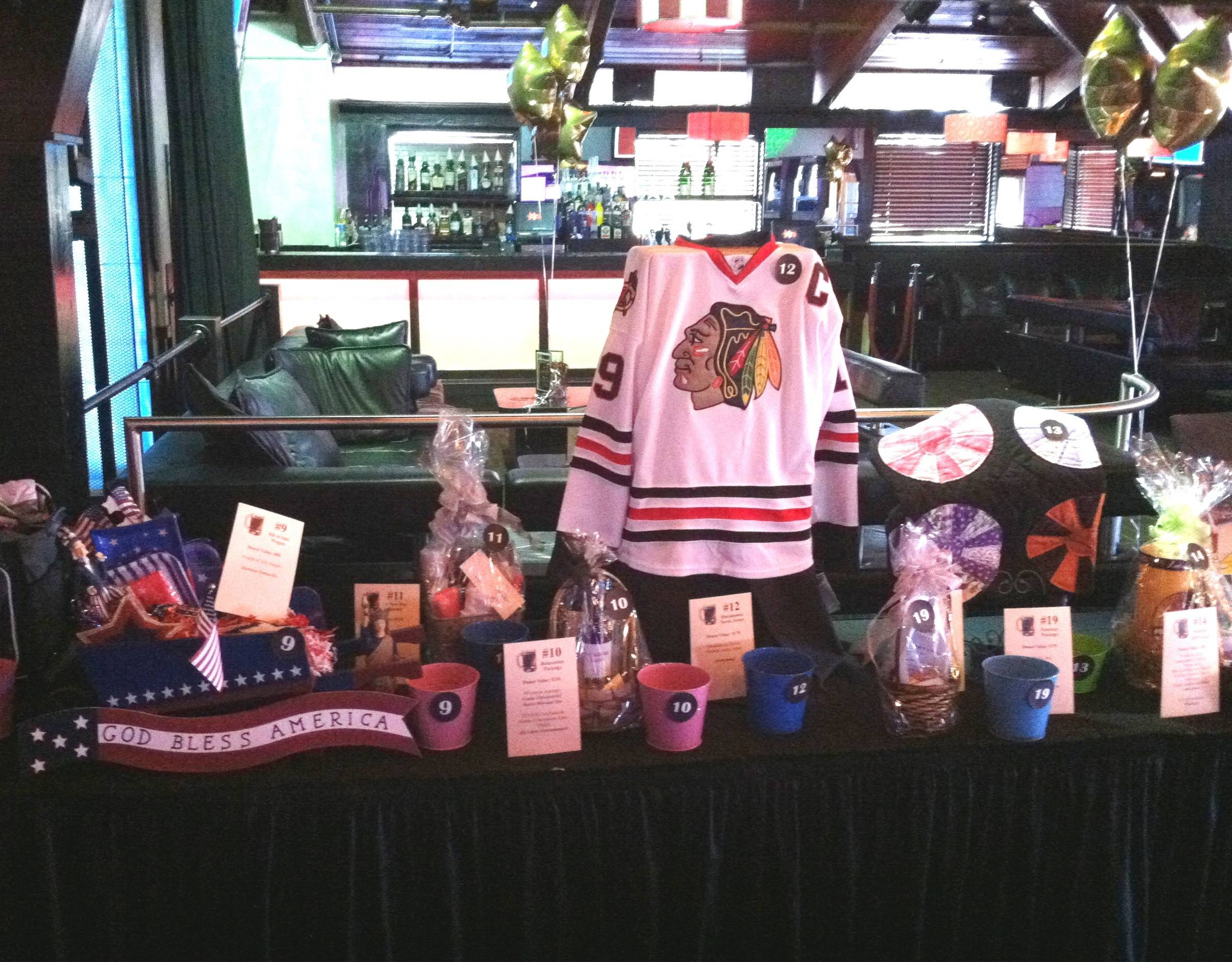 "The most popular raffle items at the ""Beers to You!"" fundraiser was a Jonathan Toews Chicago Blackhawks jersey."