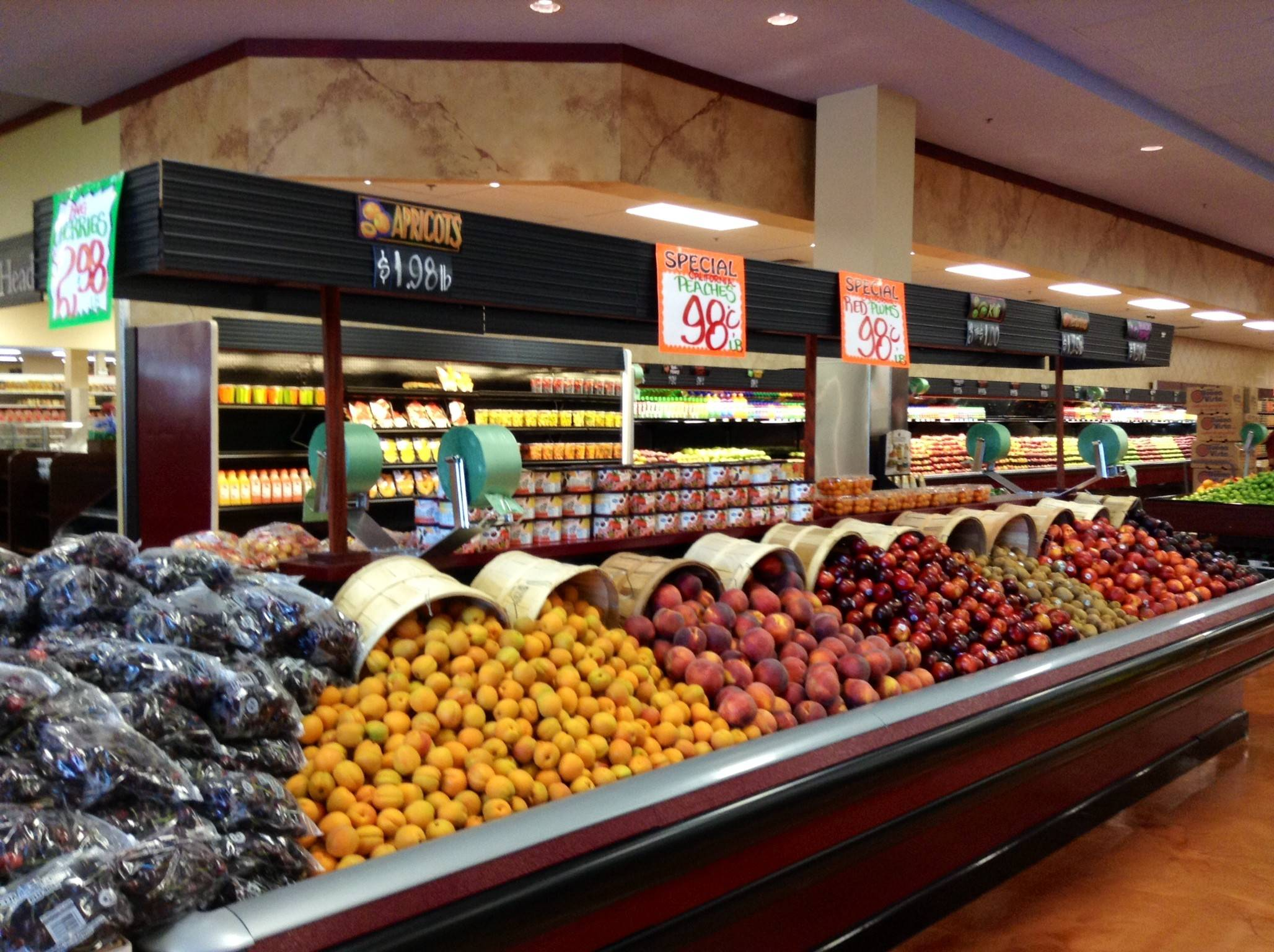 The fresh produce section of the new store.