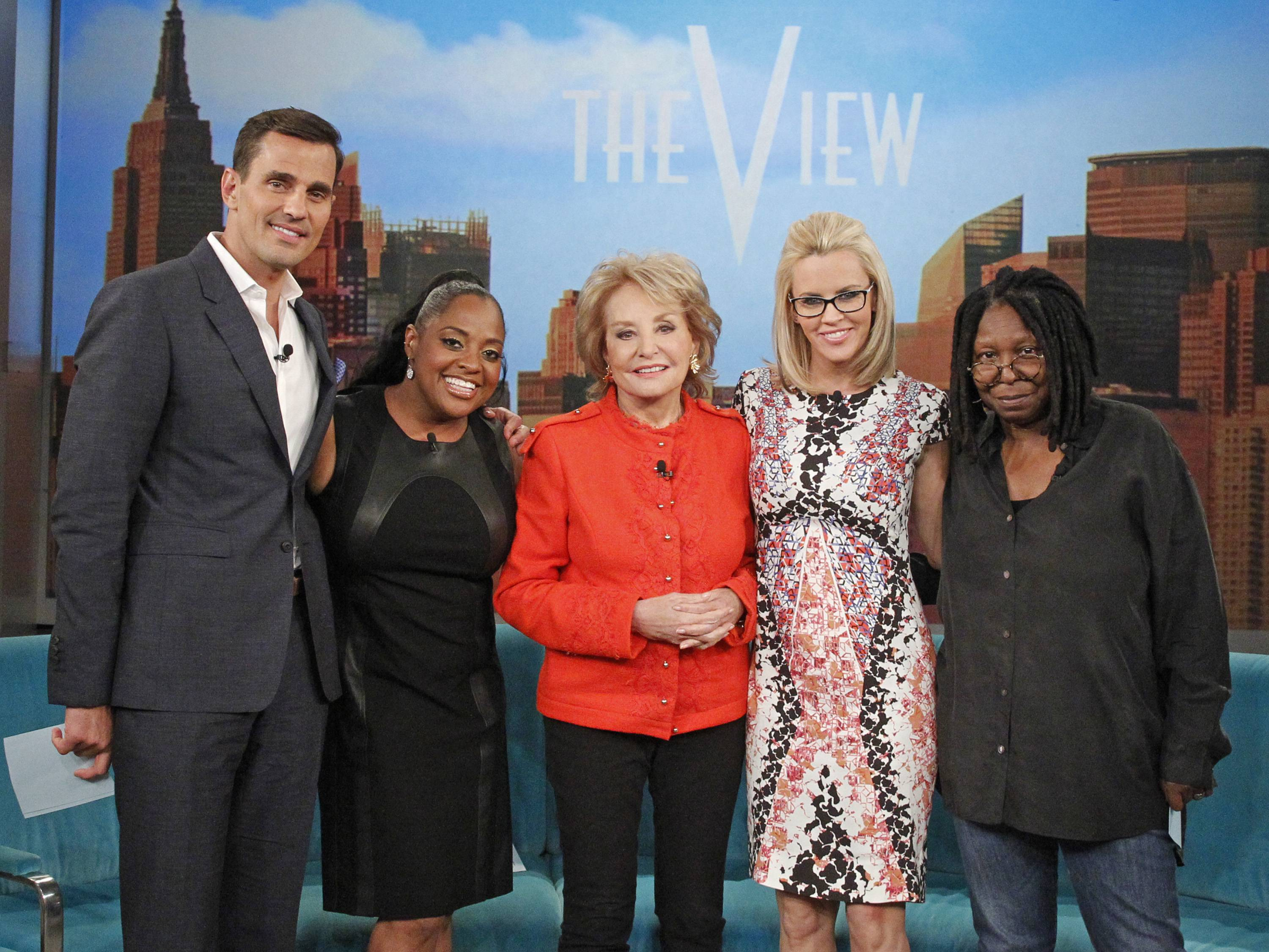 "Sherri Shepherd, second from left, and Jenny McCarthy, second from right, are both leaving ABC's daytime talk show ""The View."" Also pictured are Bill Rancic, Barbara Walters and Whoopi Goldberg."