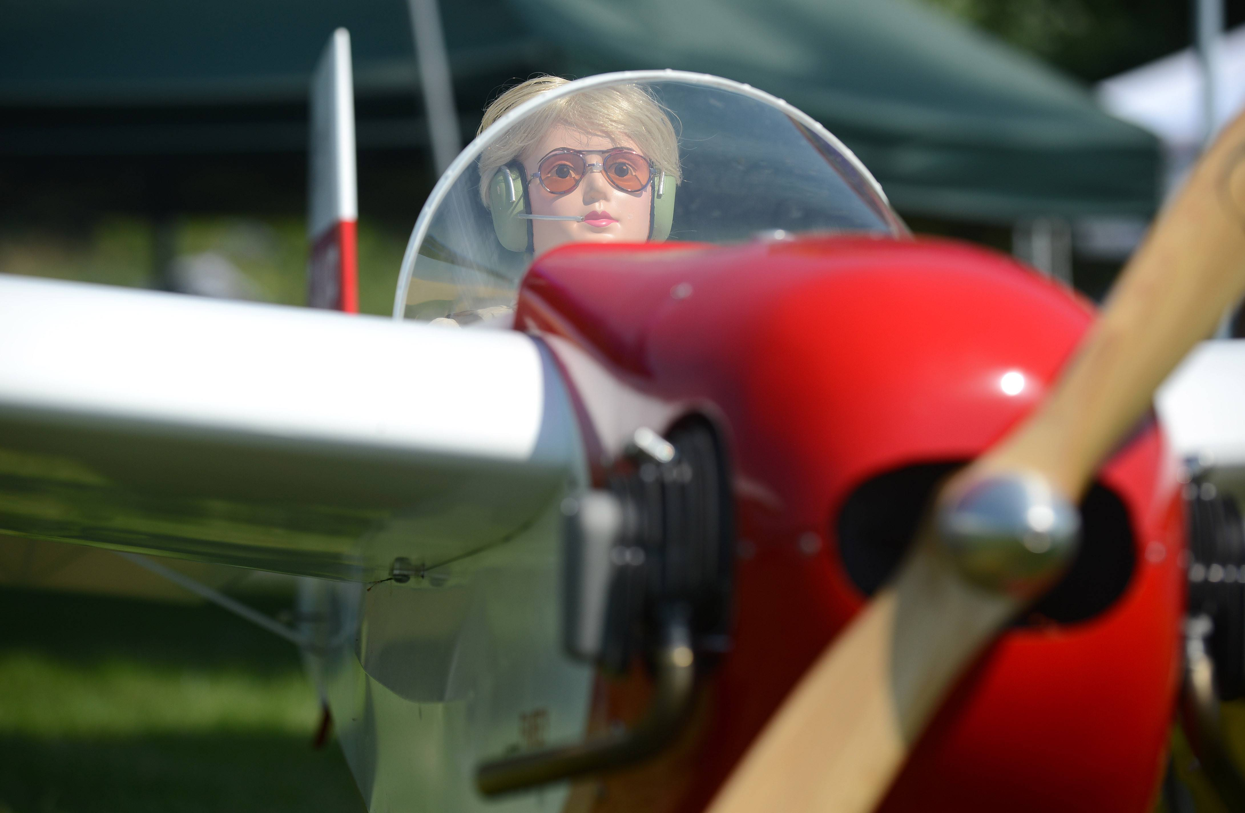 A doll sits in the cockpit of the plane owned by Vladimir Holis of Westchester ready for flying.