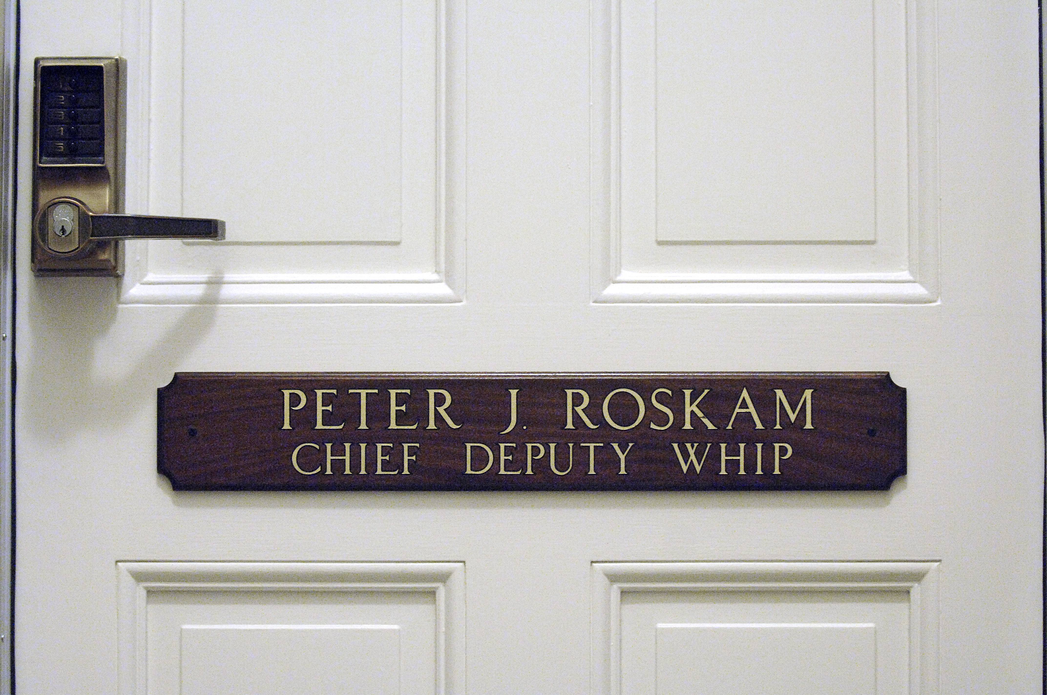 U.S. Rep. Peter Roskam of Wheaton will vacate an office in the Capitol after losing a race to move up last week.