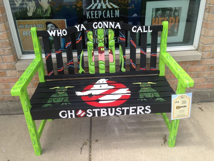 "Colorful benches will decorate the sidewalks on Main Street in Wauconda this summer. This bench features creatures from the ""Ghostbusters"" franchise."