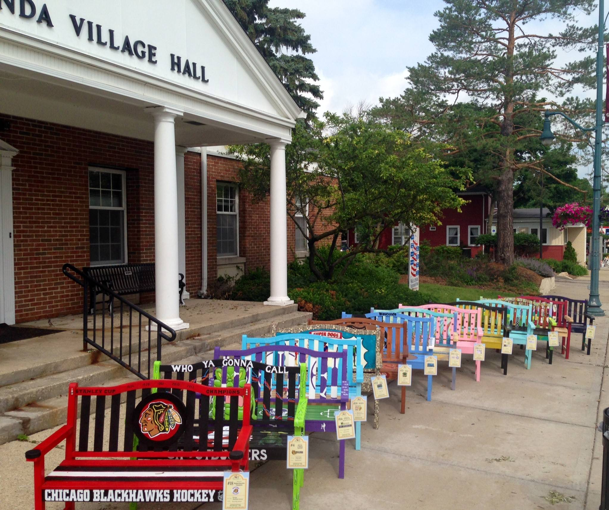 Colorful benches will decorate the sidewalks on Main Street in Wauconda this summer.