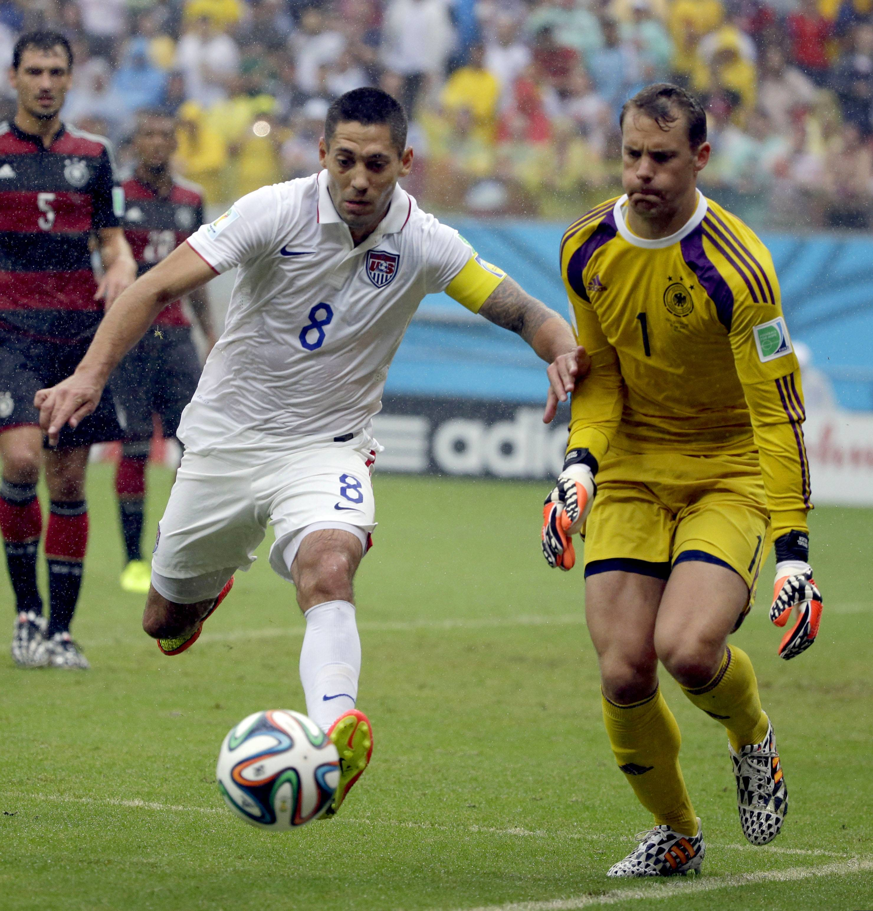 United States' Clint Dempsey chases the ball in front of Germany's goalkeeper Manuel Neuer during the group G World Cup soccer match Thursday. Coach Jurgen Klinsmann is eager for the U.S. to create more chances in Tuesday's second-round game against Belgium The U.S. had just 72 attacks during three group-stage games, according to FIFA. That ranked 31st among the 32 teams, ahead of only Costa Rica's 69.