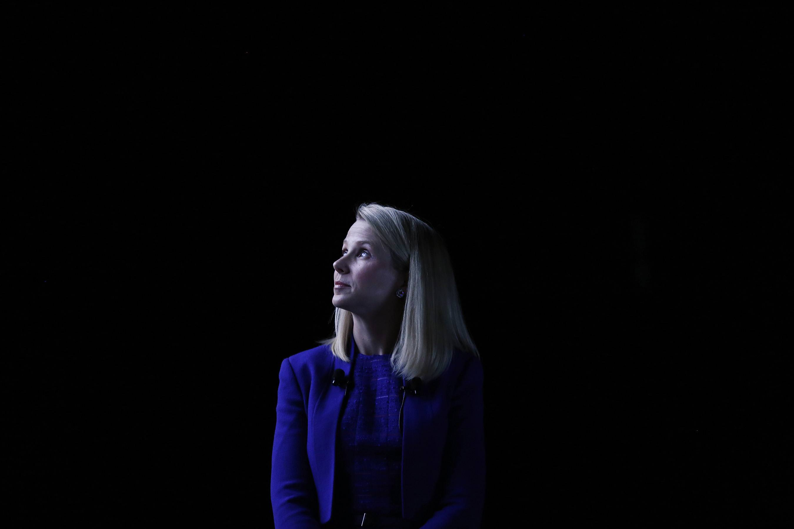 Marissa Mayer, chief executive officer of Yahoo! Inc., looks on at the Cannes Lions International Festival Of Creativity in Cannes, France, on Tuesday, June 17, 2014.