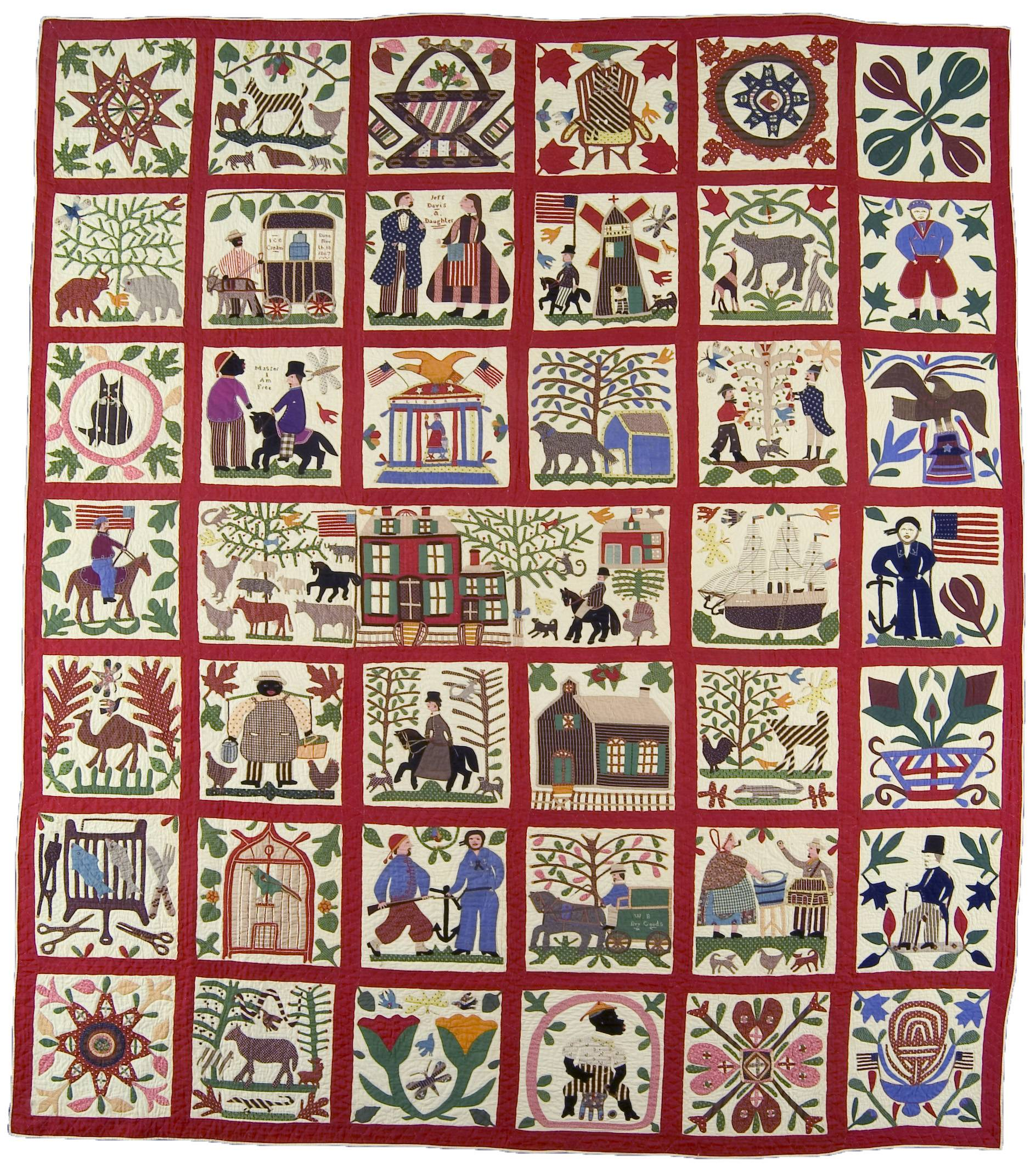 "This 1867 ""Reconciliation Quilt"" by Lucinda Ward Honstain, of Brooklyn, New York, includes a black man addressing a white man on horseback, saying ""Master I am Free."" A hard-hitting exhibit of quilts, clothing, uniforms and other Civil War-era textiles, brings new life and depth to a complicated and heart-wrenching time, in ""Homefront and Battlefield: Quilts and Context in the Civil War,"" a traveling show on view in New York through August 24."
