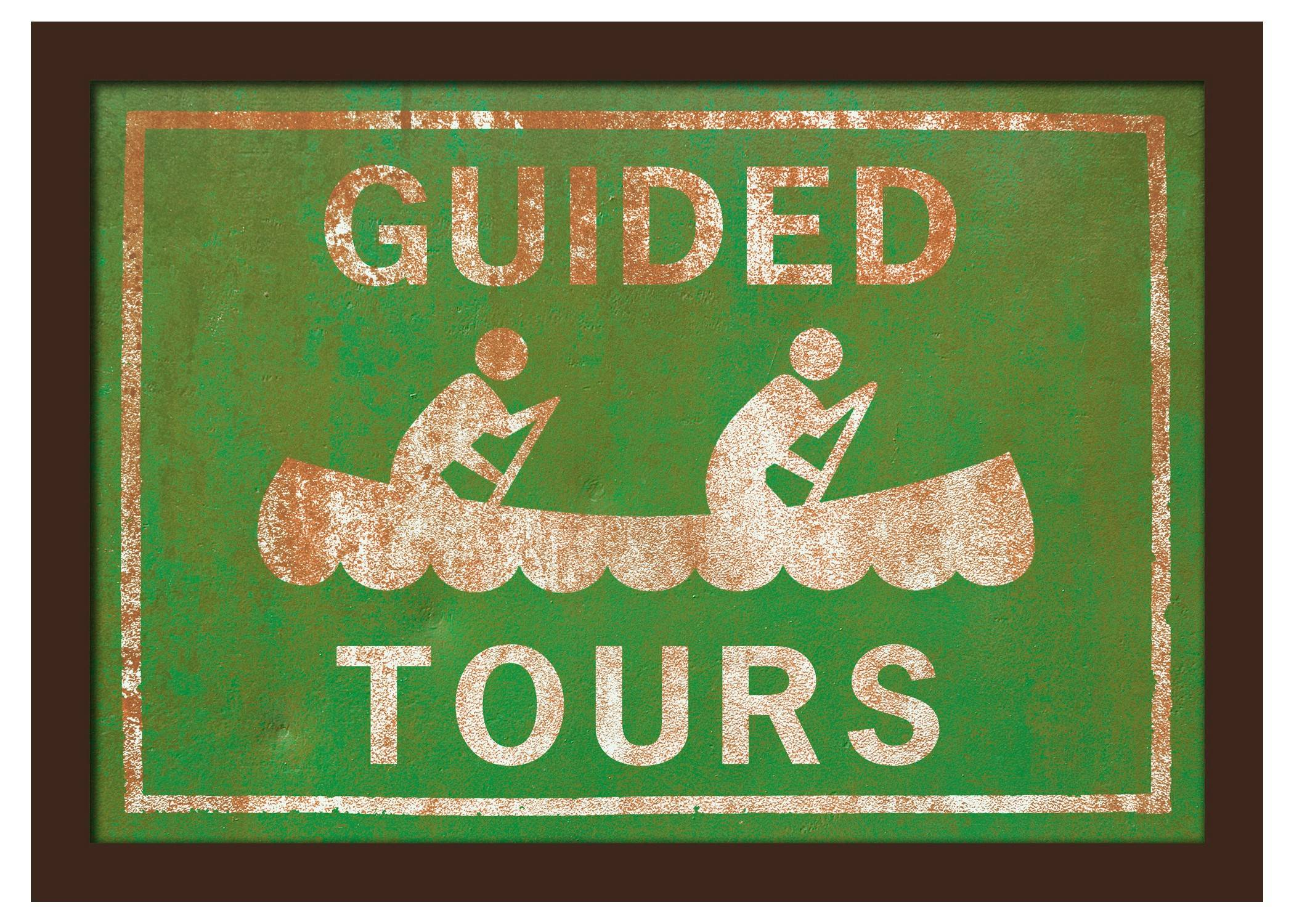 Southern California-based DCR Studio created this giclee print of an retro style Guided Tours canoeing sign, mounted on wood veneer under Plexiglass.