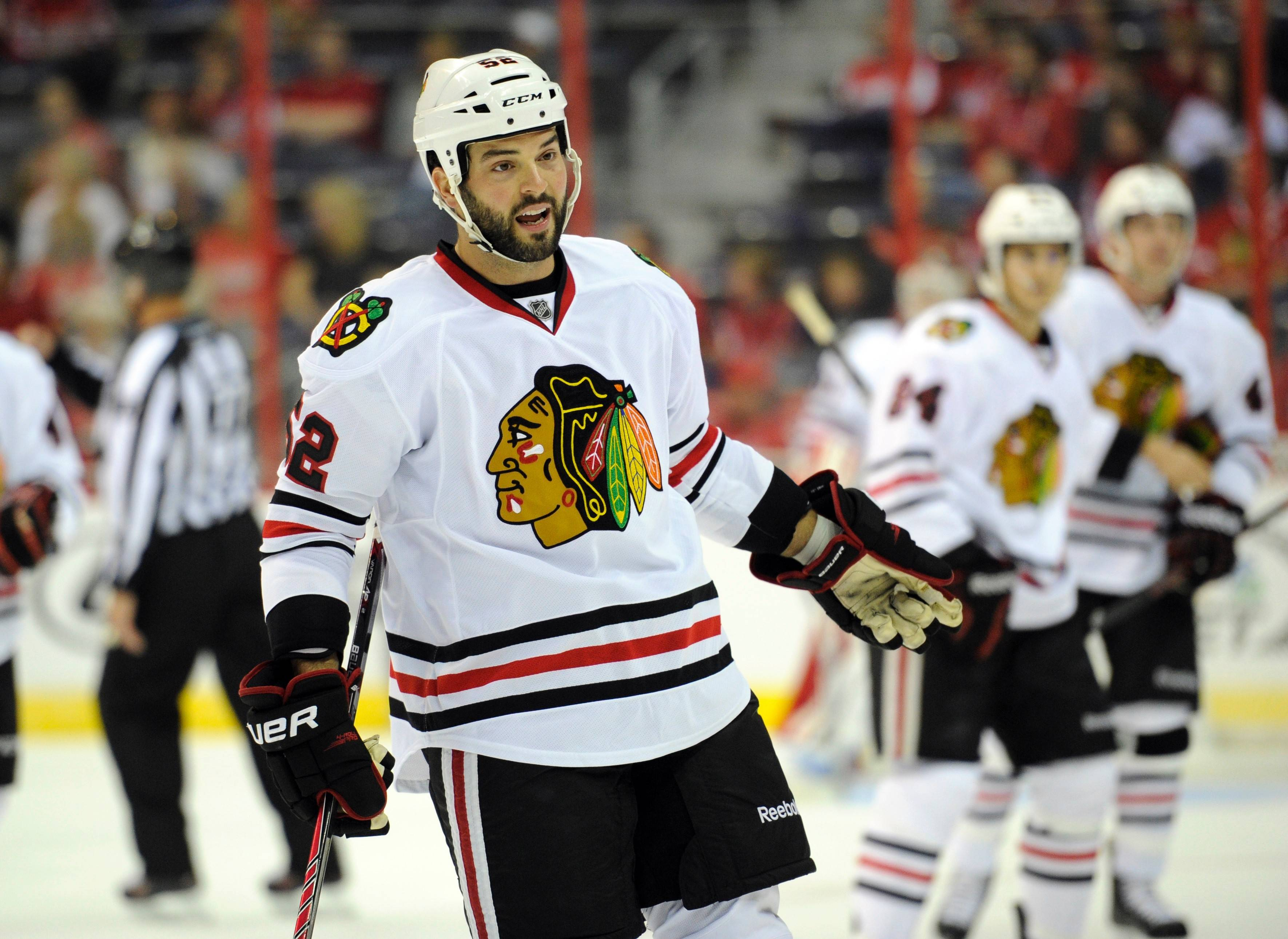 The Blackhawks have traded forward Brandon Bollig to the Calgary Flames for a third-round selection in the NHL draft. Bollig agreed to a three-year contract extension in March. He had seven goals and seven assists while playing in 82 games this season, and then had an assist in 15 playoff games. The Blackhawks used the draft pick, No. 83 overall, to take forward Matheson Iacopelli