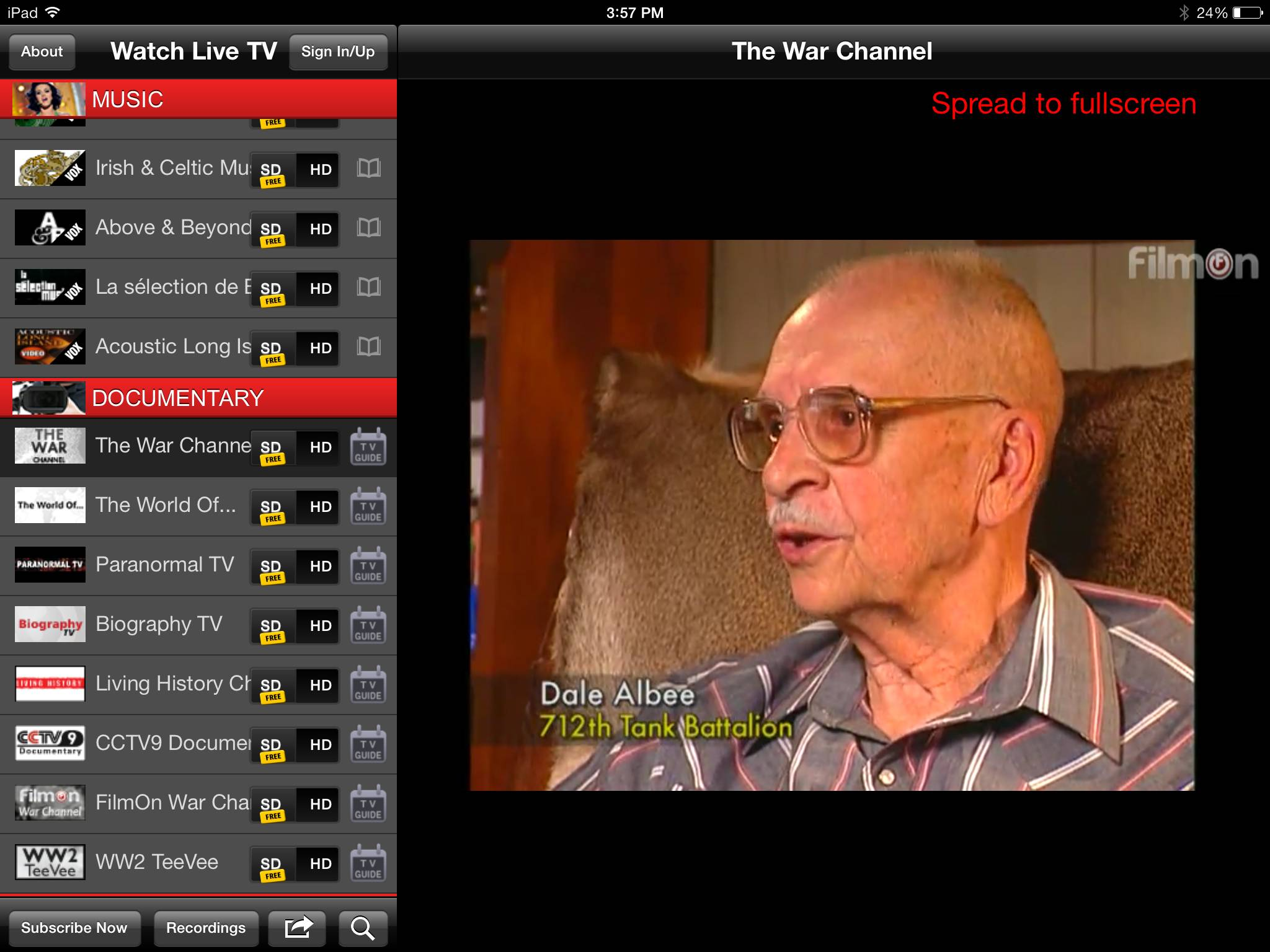 In this screenshot made Wednesday, June 25, 2014 shows The War Channel as viewed on FilmOn's ipad app. FilmOn offers over-the-air TV channels through a website and mobile apps.
