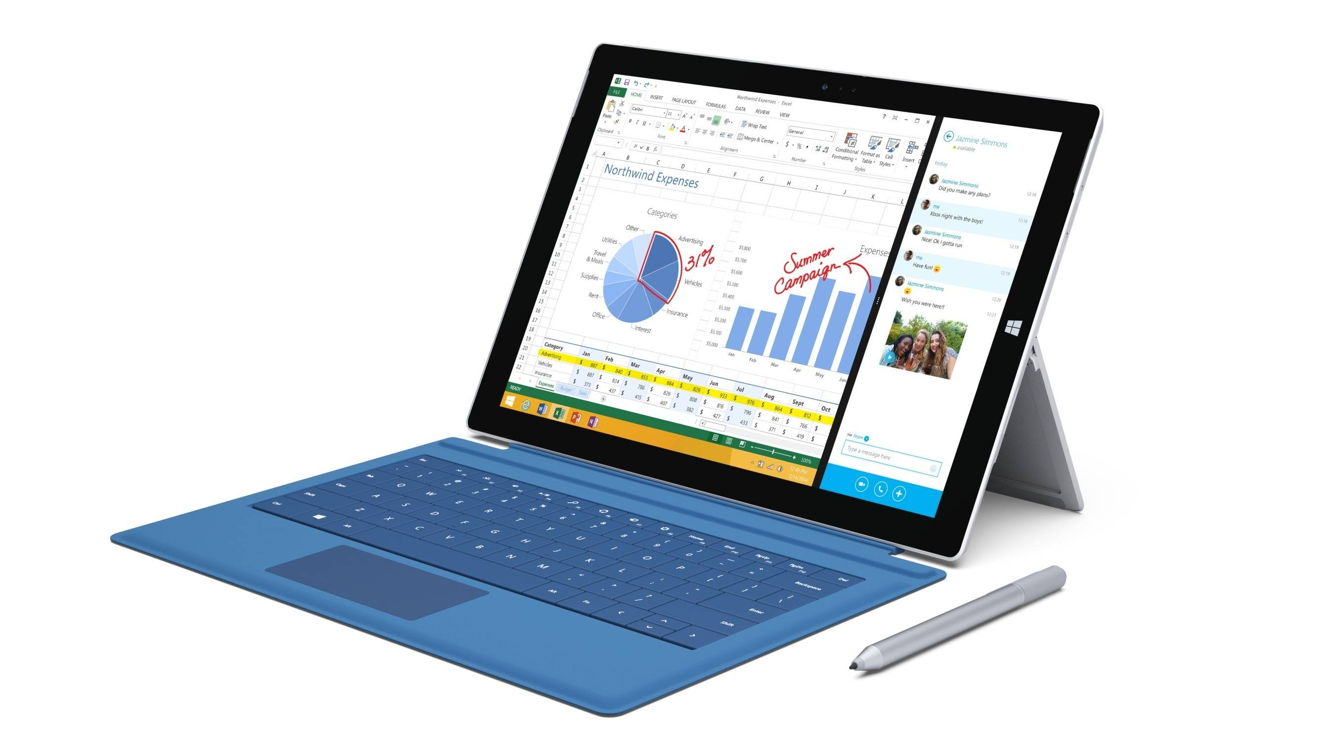 This product image provided by Microsoft shows the Surface Pro 3. The device has a screen measuring 12 inches diagonally, up from 10.6 inches in previous models. Microsoft says it's also thinner and faster than before.