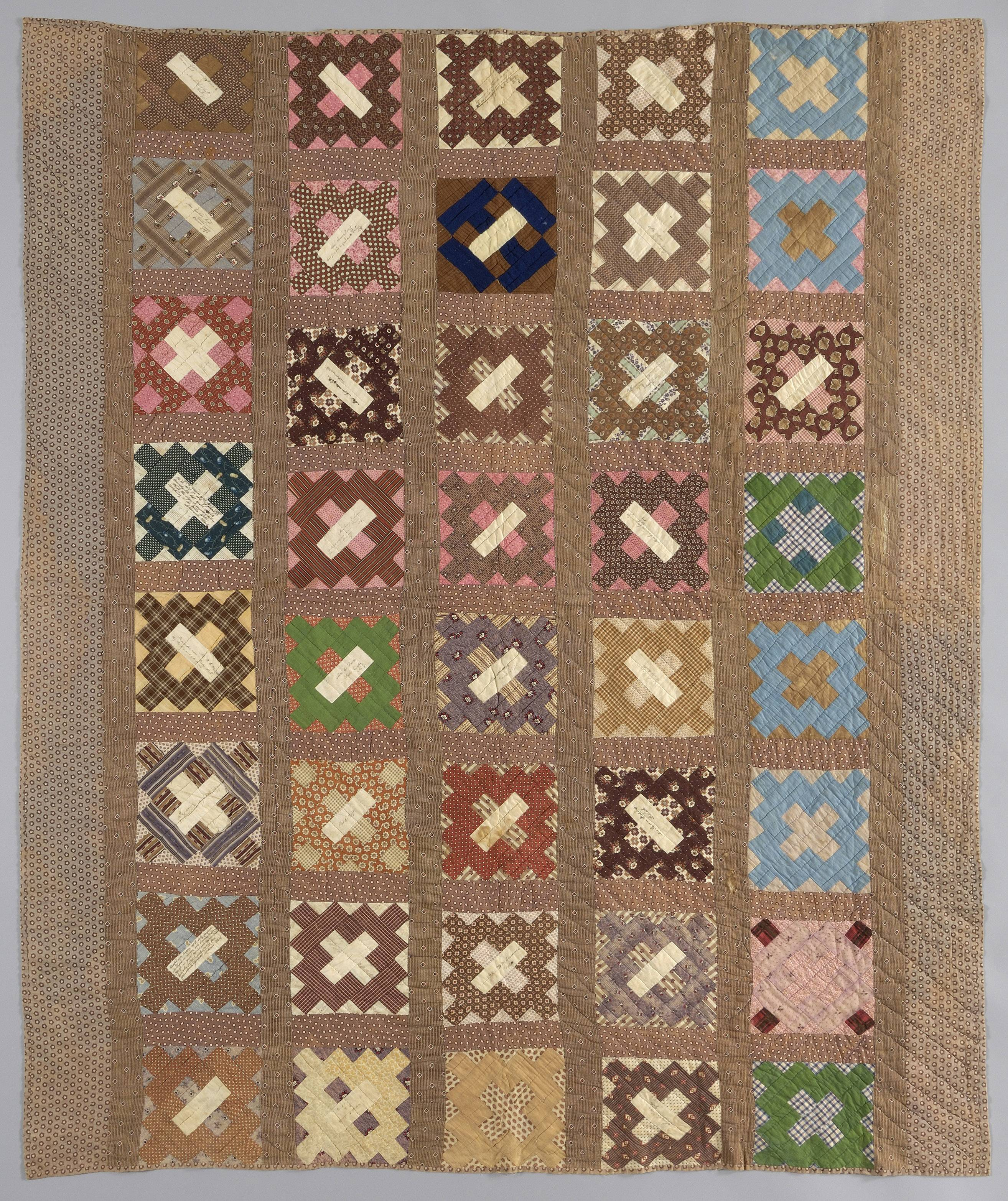 "The quilt titled ""Quilt, 40-Block,"" dated Feb. 5, 1865, has 22 blocks signed and inscribed with sentiments to a soldier from the Collection of Janet Garrod Chinault."