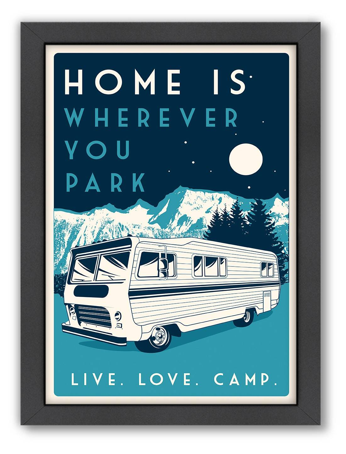 Matthew Schnepf's print of an RV embraces the road trip aesthetic inherent in this retro decor style. Similar styles available at www.onekingslane.com.