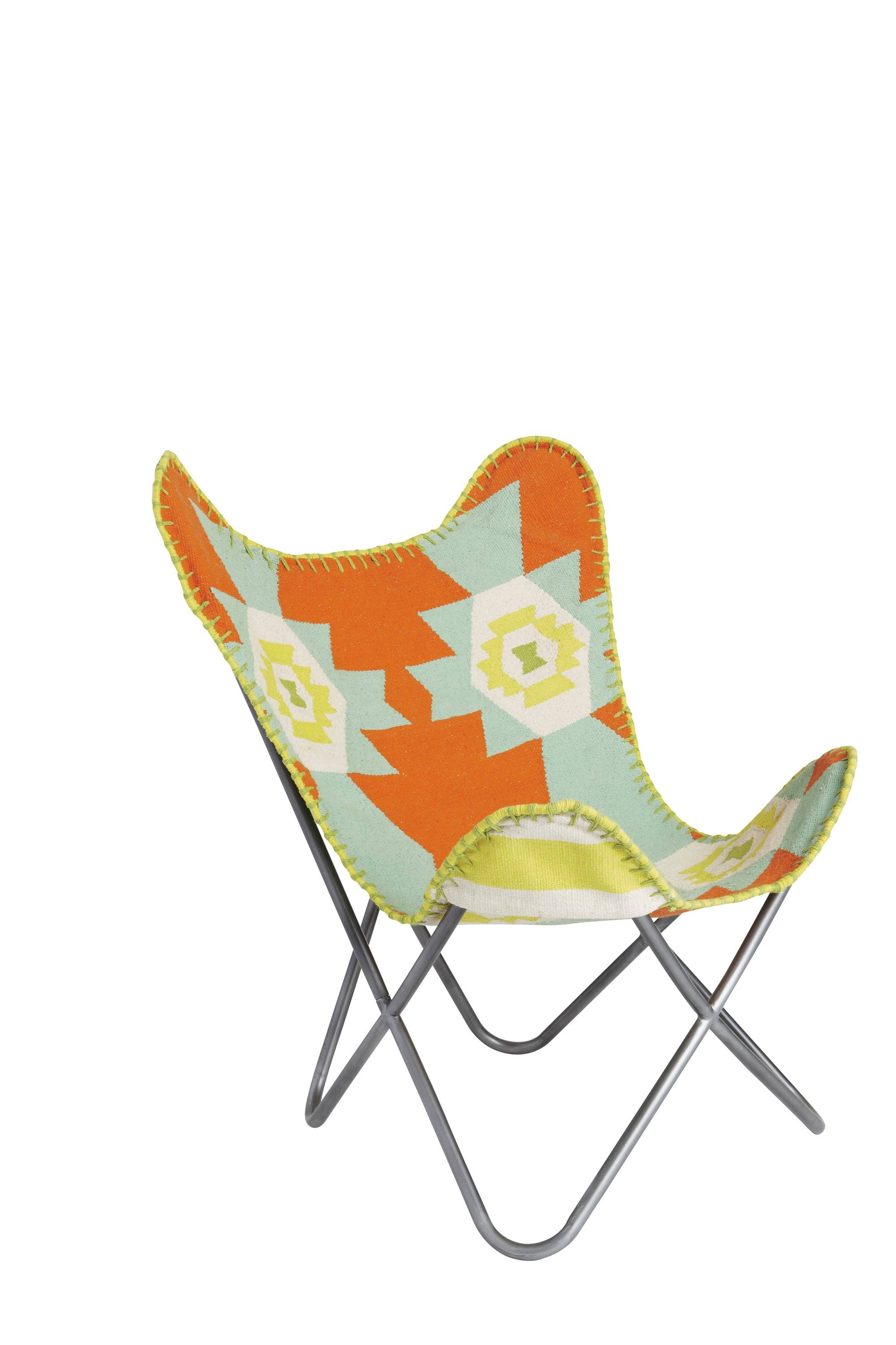 "Brooklyn-based designer Aelfie Oudghiri puts a contemporary spin on the iconic ""butterfly"" chair by covering it in a flatweave dhurrie in California-beachfront hues of aqua, white and sunny orange."