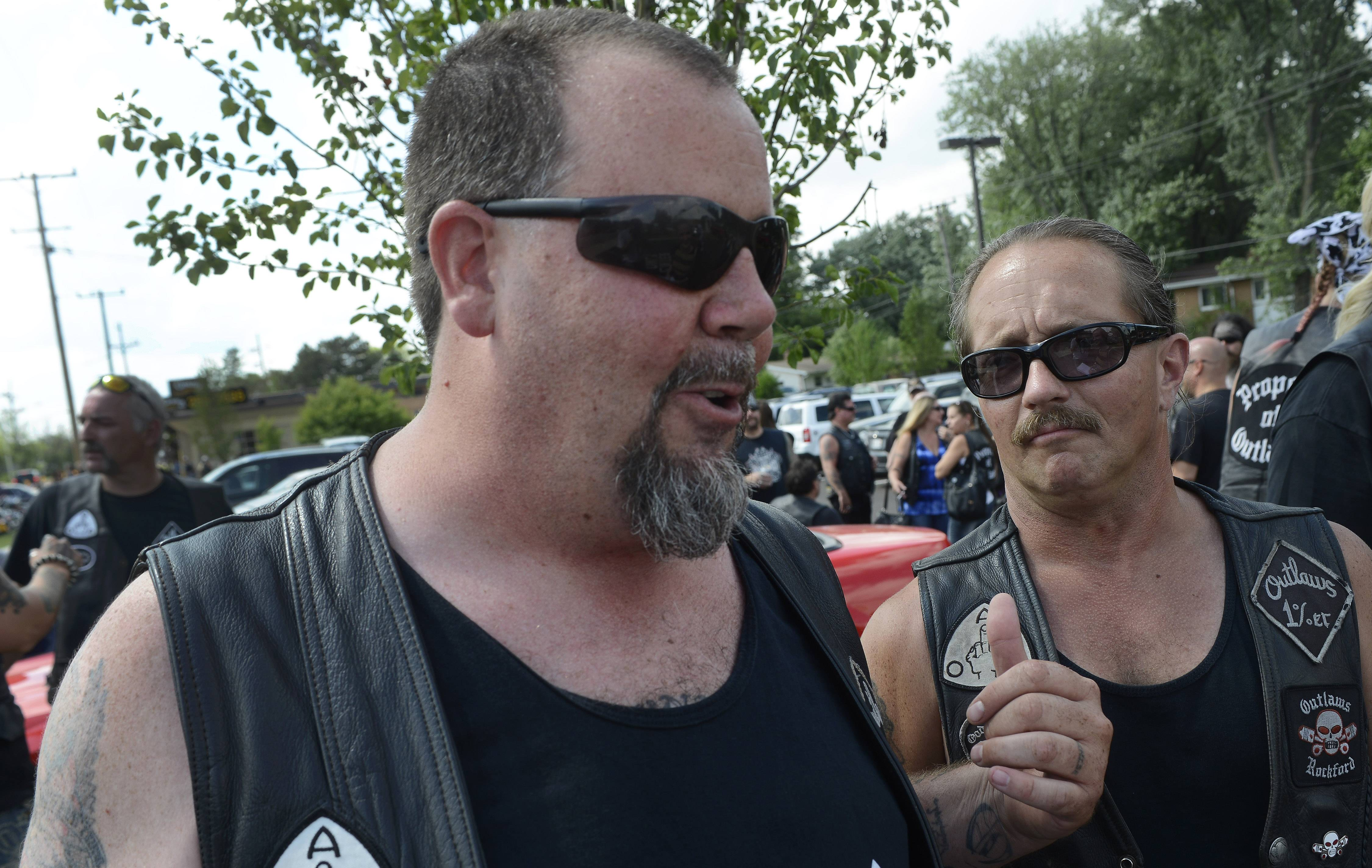 "Outlaws motorcycle club members ""Westside Dan"" and ""Rosie"" remember their friend Douglas Peters, an Algonquin man who died in a motorcycle accident last week."