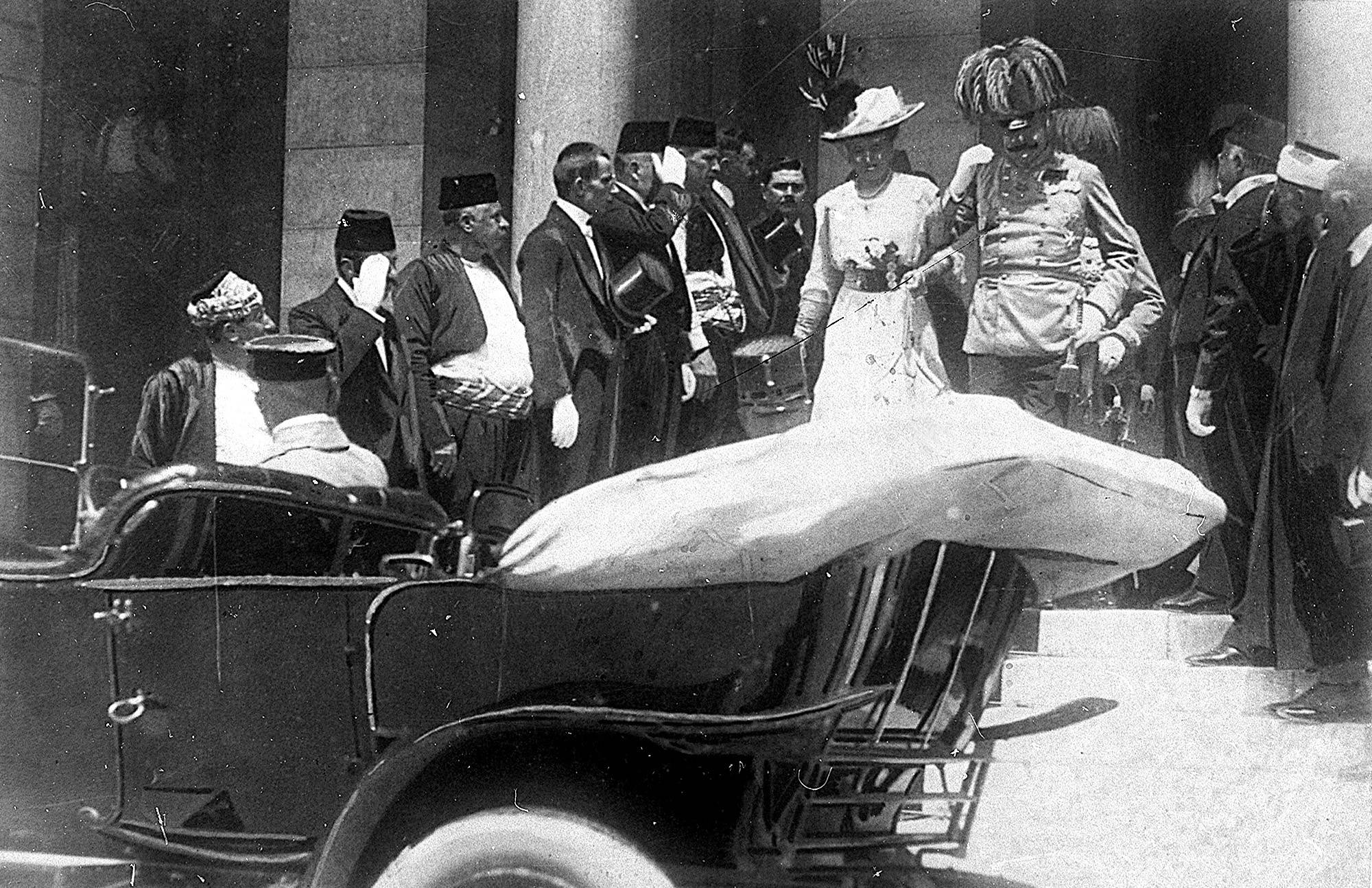 ONE OF 100: In this June 28, 1914, file photo, the Archduke of Austria Franz Ferdinand, center right, and his wife, Sophie, center left, walk to their a car in Sarajevo. This photo was taken minutes before the assassination of the archduke and his wife, an event that set off a chain reaction of events which would eventually lead to World War I.