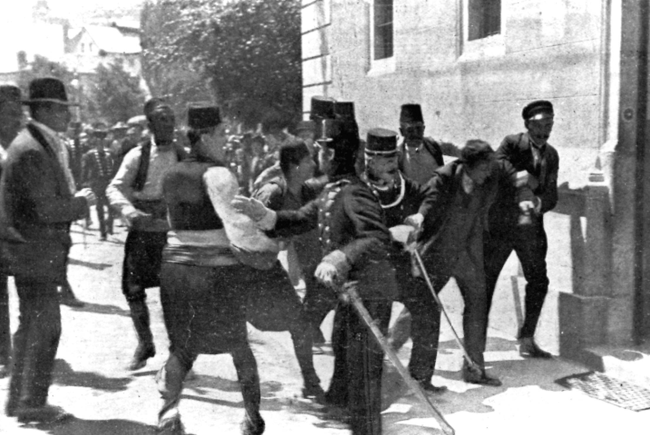 TWO OF 100: In this June 28, 1914 file photo, a suspect, second right, is captured by police in Sarajevo, Yugoslavia. Princip fired the shots that assassinated Archduke Franz Ferdinand, heir to the Austrian-Hungarian throne, and his wife, Sophie.