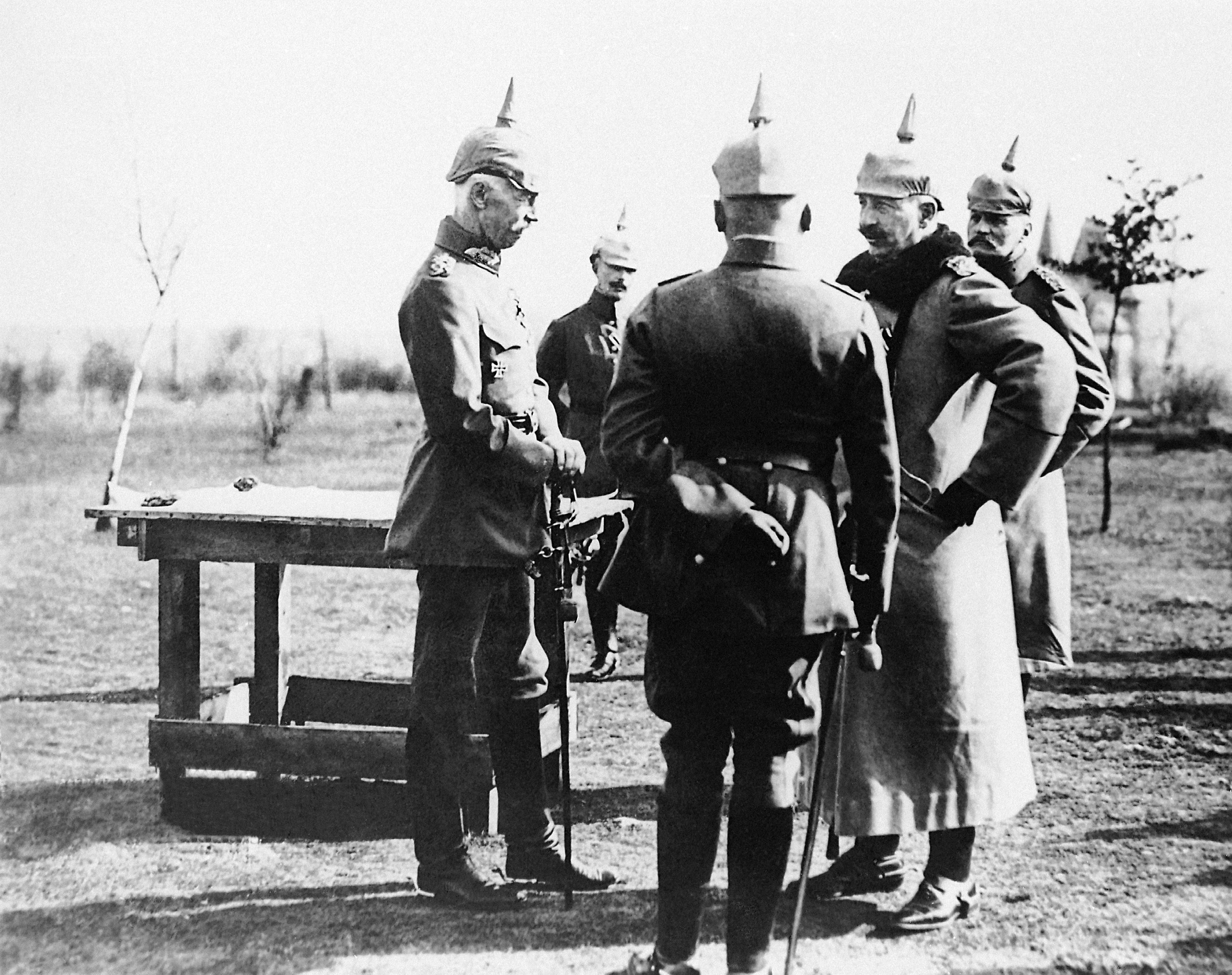 15 OF 100: In this undated file photo, German soldiers speak with each other on the Western Front during World War I.