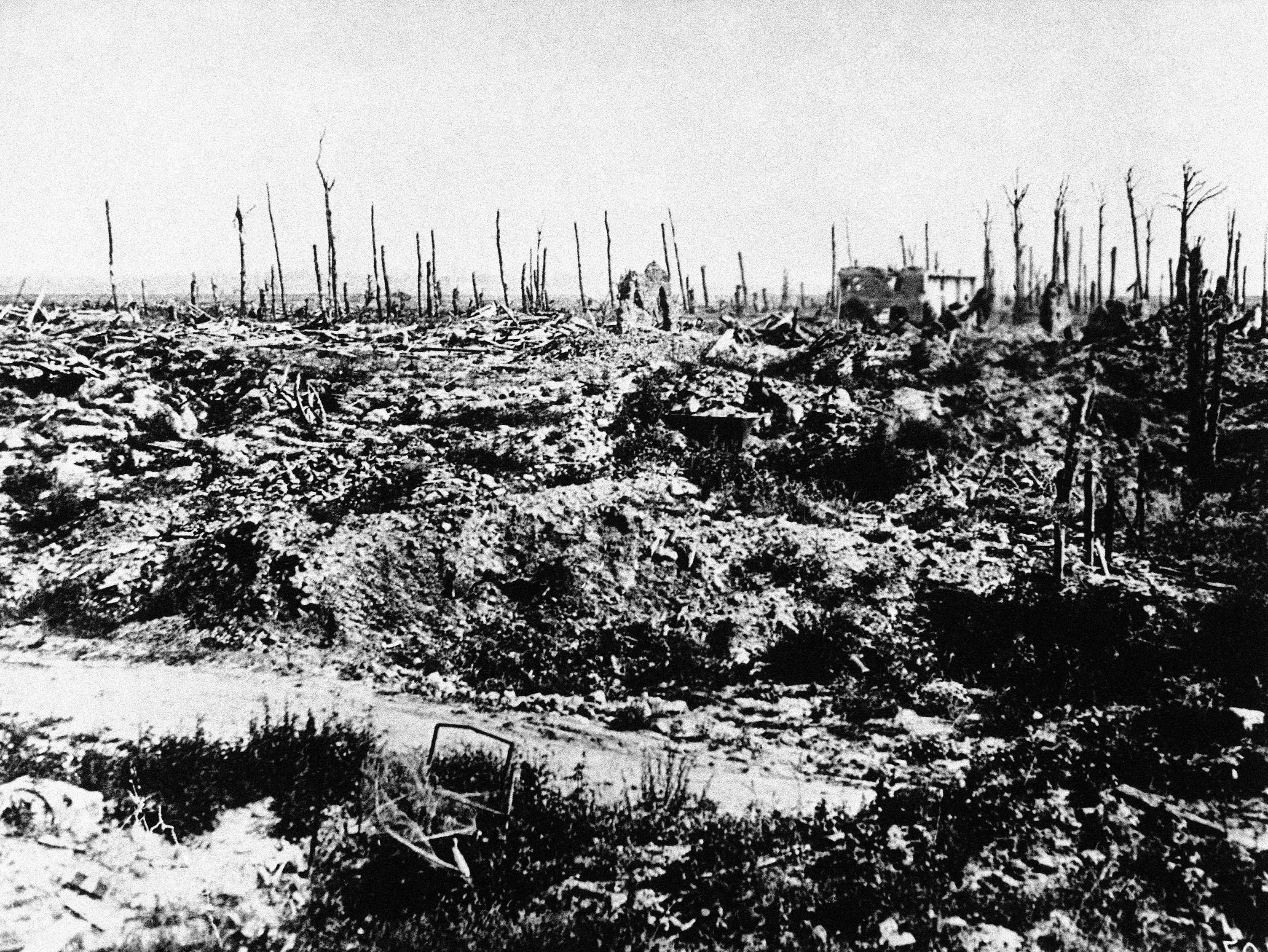16 OF 100: In this undated file photo, France's battle torn Marne district is reduced to rubble and mud during World War I.