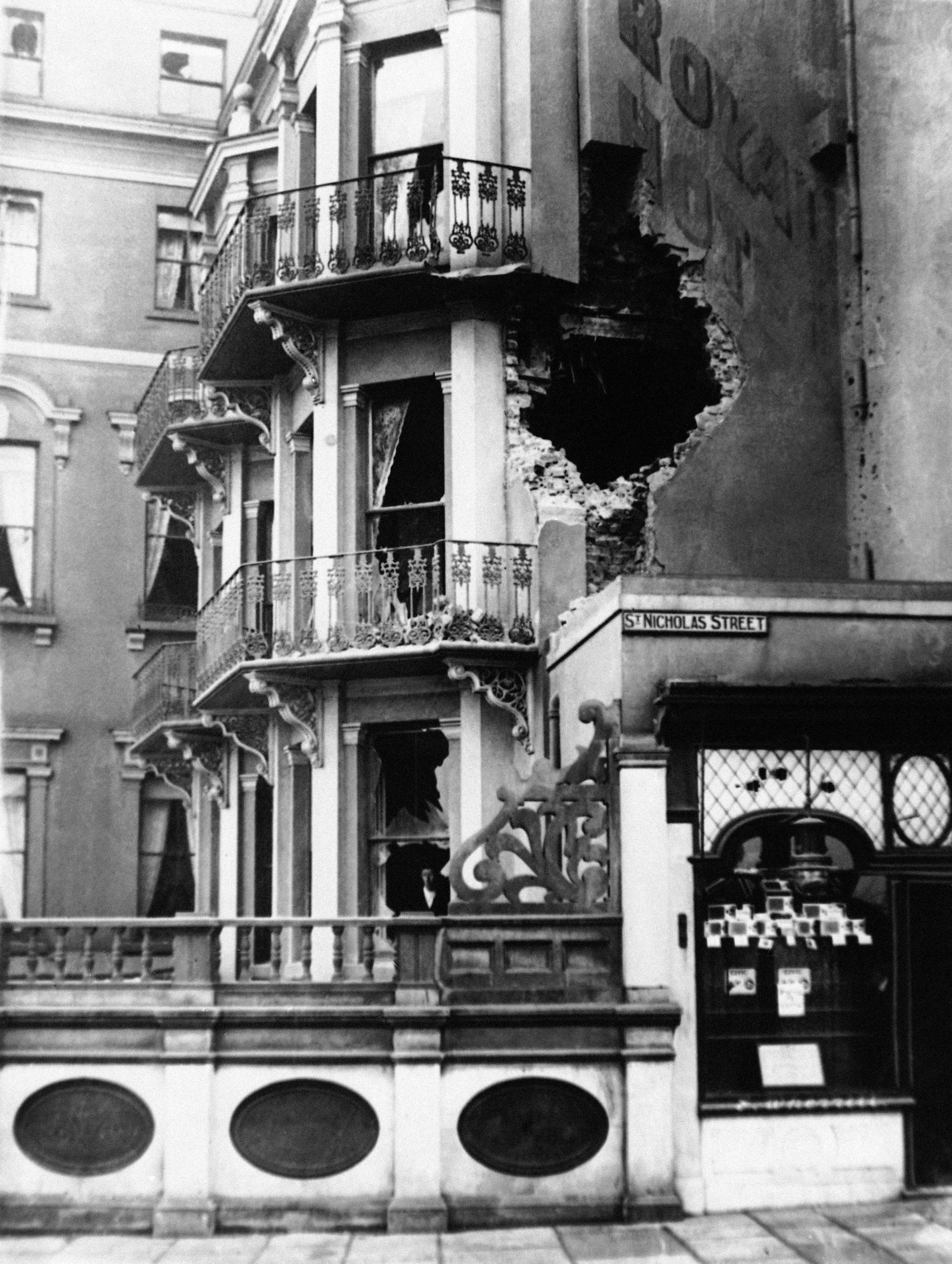 23 OF 100: In this December 1914 file photo, damage to the Royal Hotel in Scarborough, northern England, after a bombing raid.