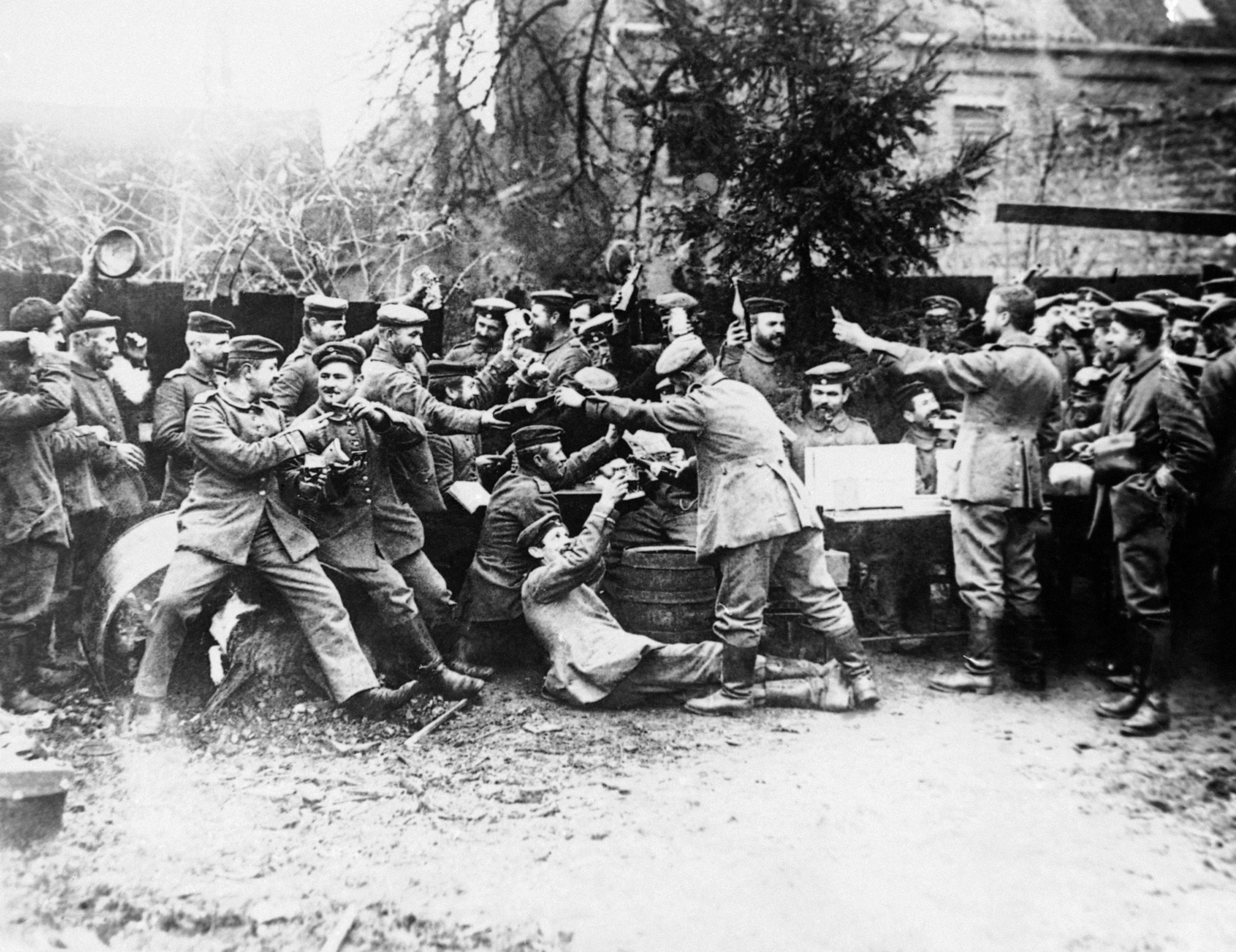 26 OF 100: In this 1914 file photo, German soldiers gather at Christmas at an unknown location during World War I.