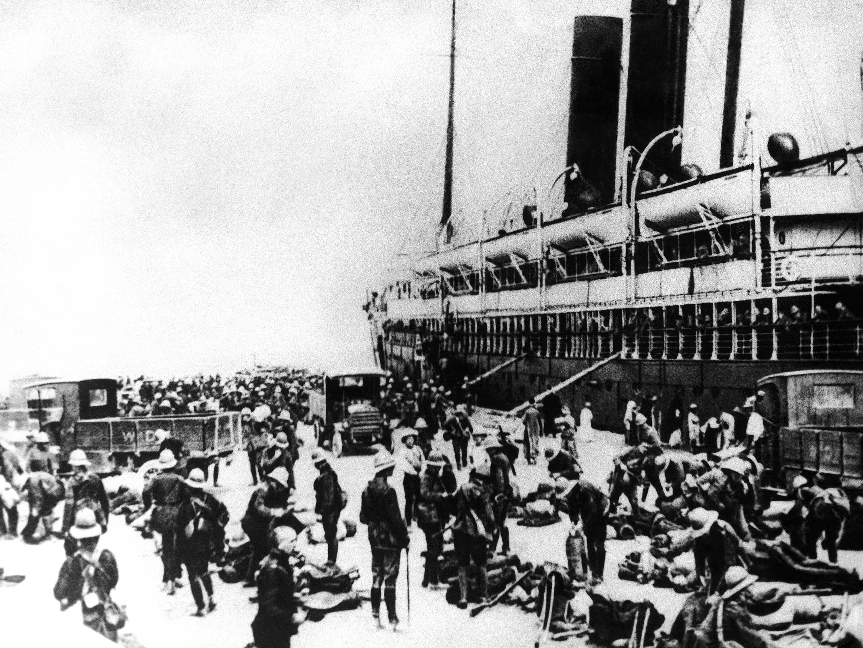 30 OF 100: In this 1915 file photo, Australian troops arrive in Alexandria, Egypt, en route to the battlefield on the Gallipoli Peninsula during World War I.