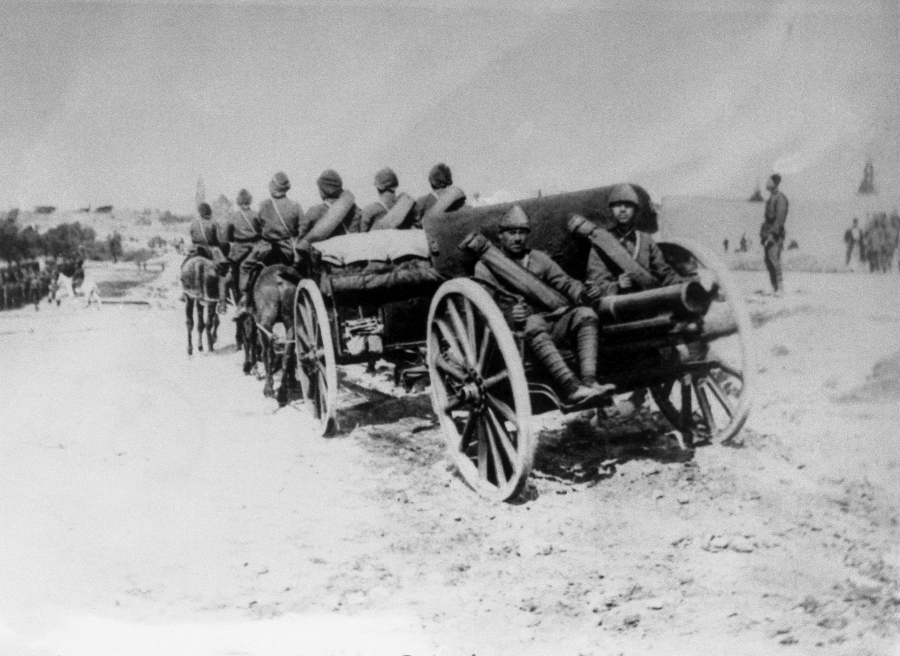 32 OF 100: In this undated file photo, a Turkish cannon moves to the front lines on the Gallipoli Peninsula, Turkey, during World War I.
