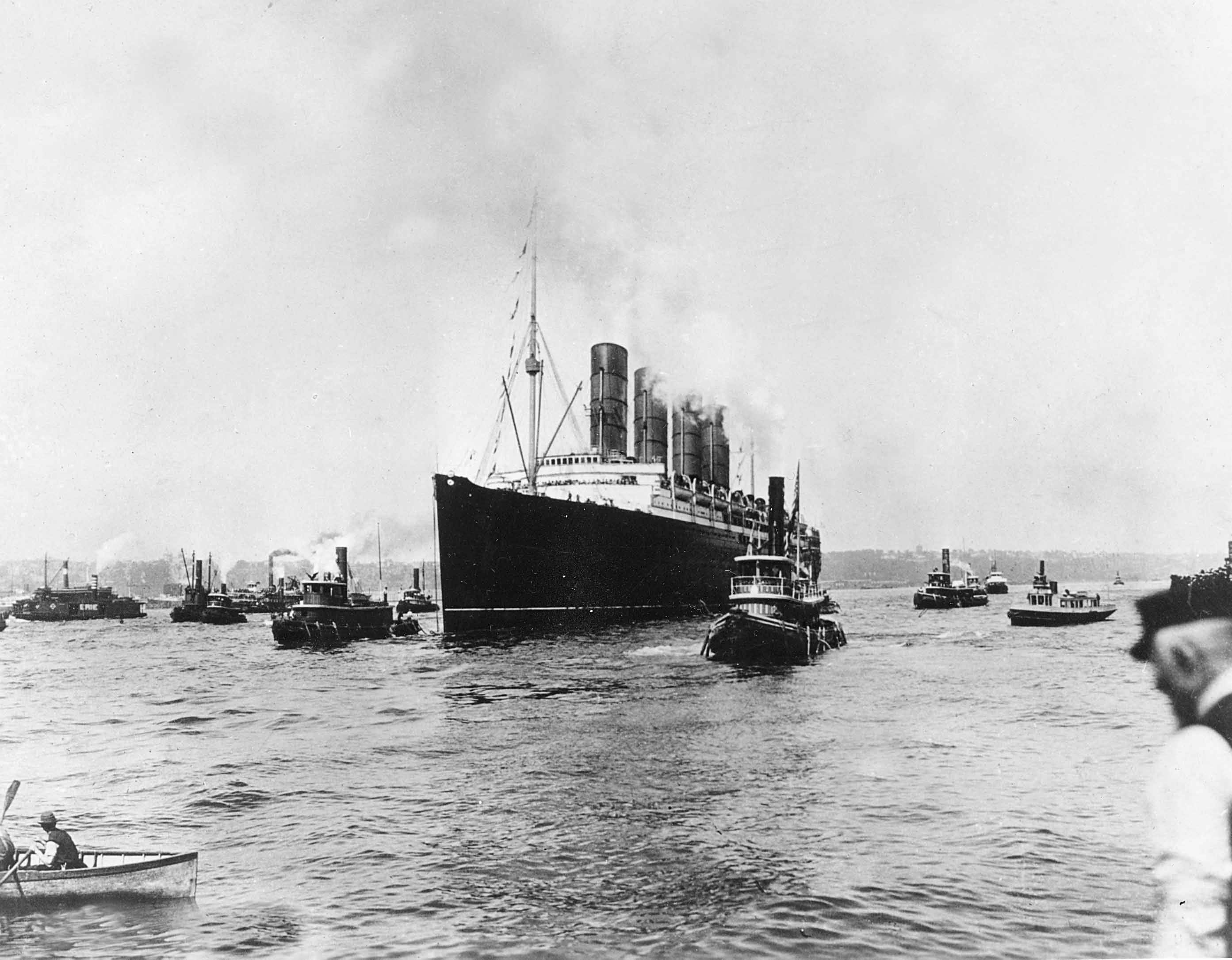40 OF 100: In this May 1, 1915, file photo, the British cargo and passenger ship Lusitania as it sets out for England on its last voyage from New York City. The British ocean liner was sunk off Ireland on May 7, 1915, by a German U-Boat, killing 1,150 people, 114 of them Americans.