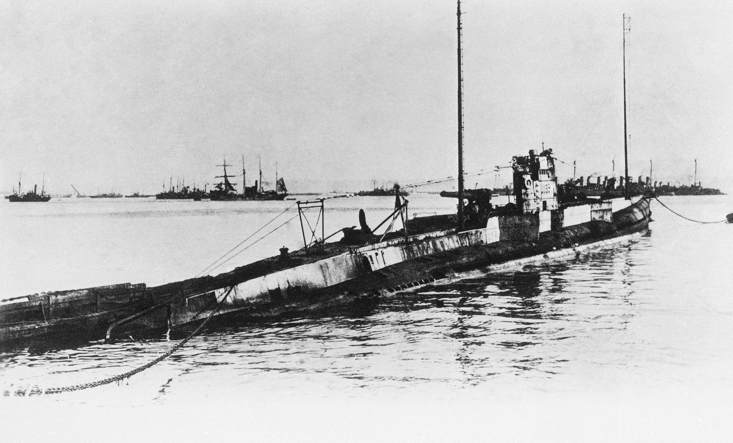 41 OF 100: In this undated file photo, the U-Boat 139 which sank the Lusitania in an unknown location. The British liner was sank on May 7, 1915, by a German submarine off the southern coast of Ireland. About 1,150 men, women and children, perished, 114 of which were Americans. Among those Americans who perished were Charles Frohman, Alfred G. Vanderbilt and Elbert Hubbard.