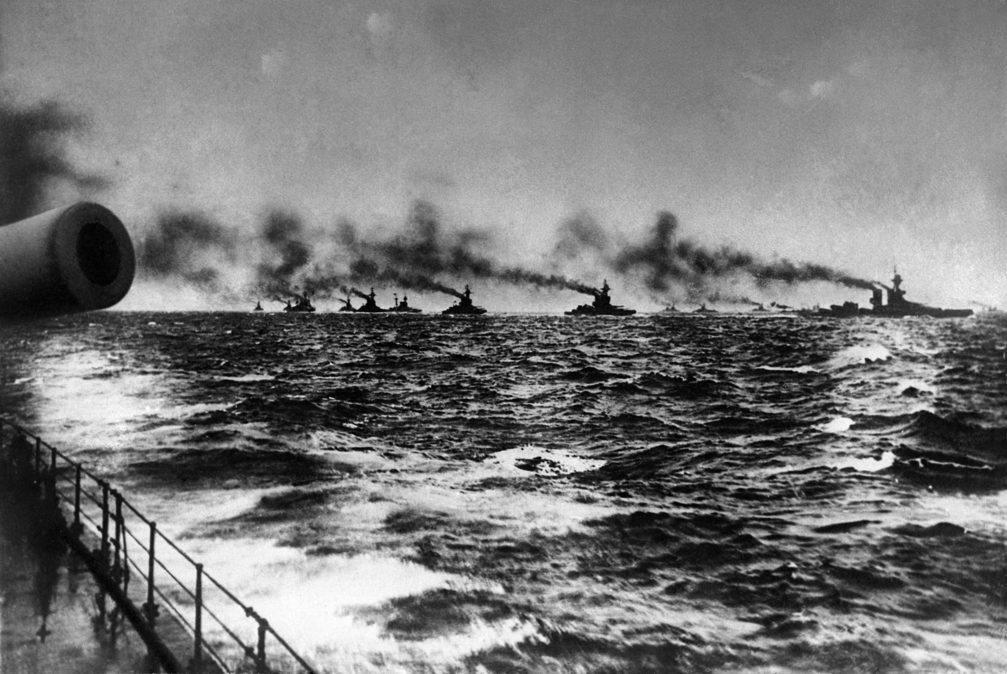 54 OF 100: In this May 31, 1916, file photo, the British Grand Fleet under Adm. John Jellicoe on their way to meet the Imperial German navy's fleet for the Battle of Jutland in the North Sea.