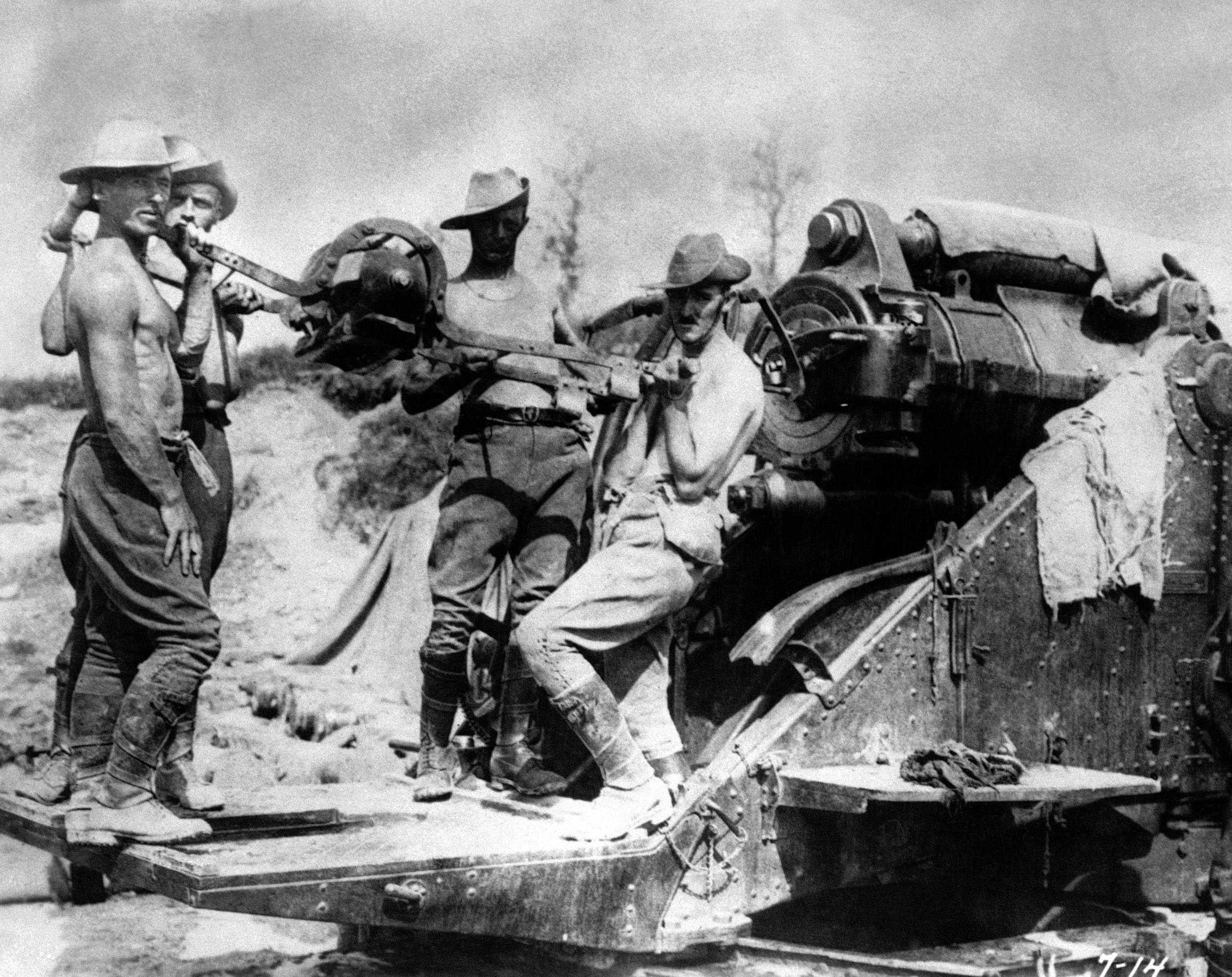 56 OF 100: In this 1916 file photo, Australian artillery soldiers operate a large caliber gun at the Somme front in France during World War I.