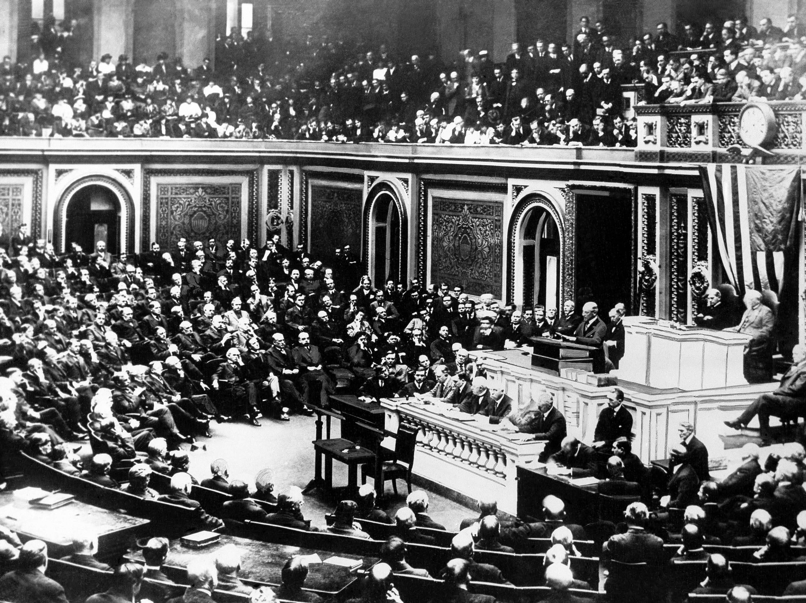 60 OF 100: In this April 2, 1917 file photo, President Woodrow Wilson delivers a speech to the joint session of Congress in Washington during World War I.