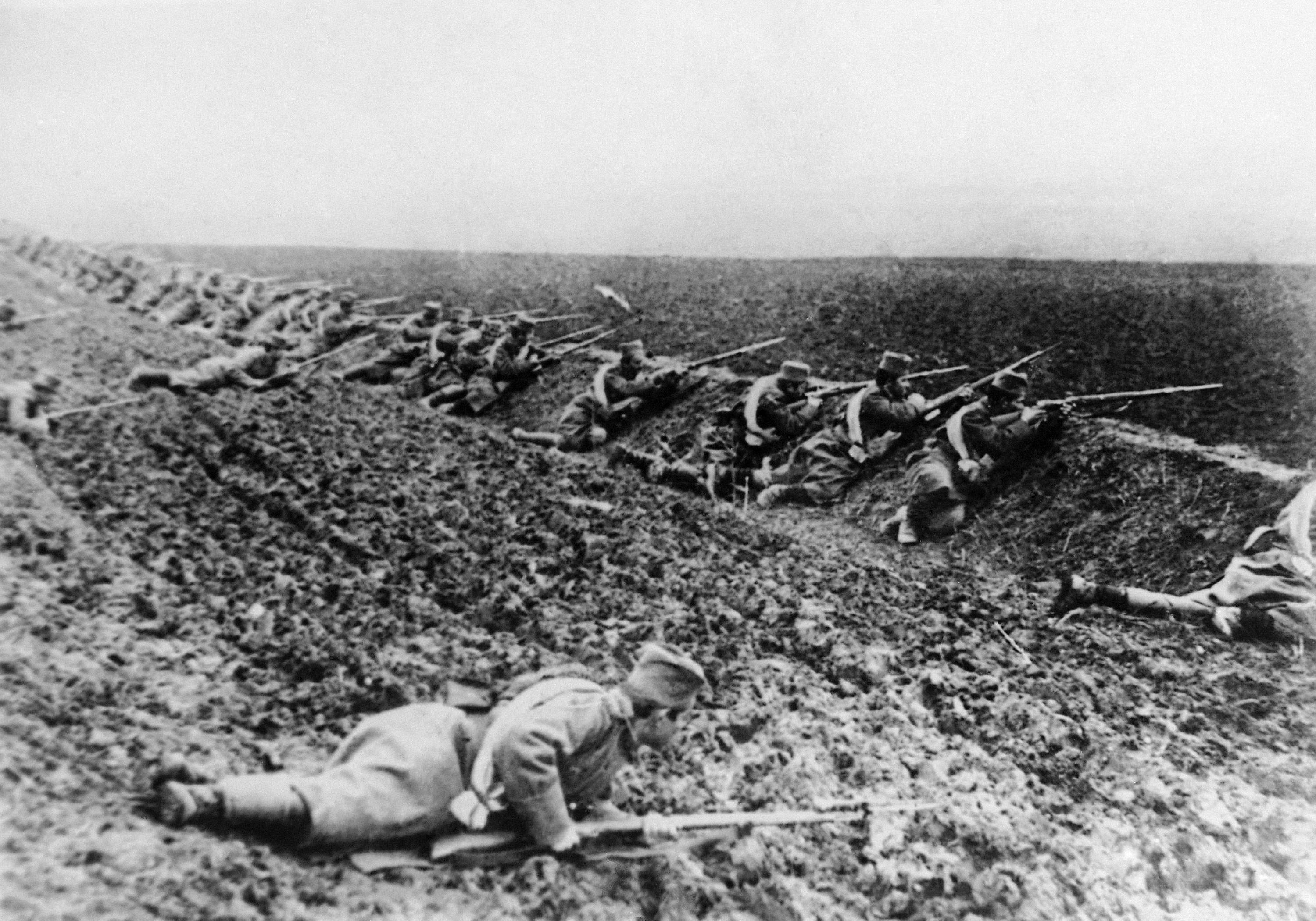 SEVEN OF 100: In this undated file photo, Serbian soldiers take position on the battle line. Some of the first battles of World War I were fought between Serbia and Austria-Hungary around the Cer Mountain region.