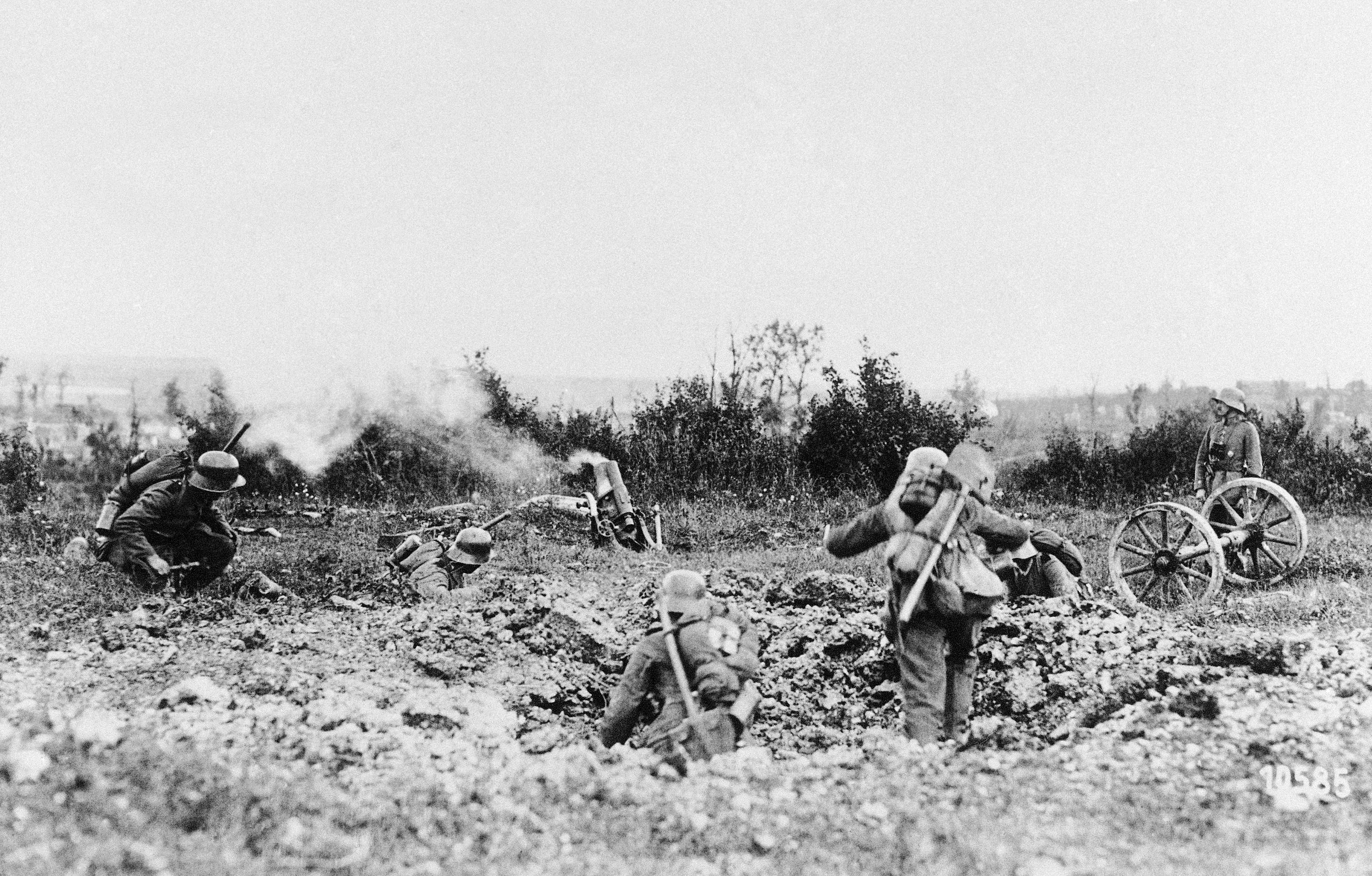 62 OF 100: In this undated photo, German mine-throwing troops, at an attack at the Keil and Poehl mounts, Germany.