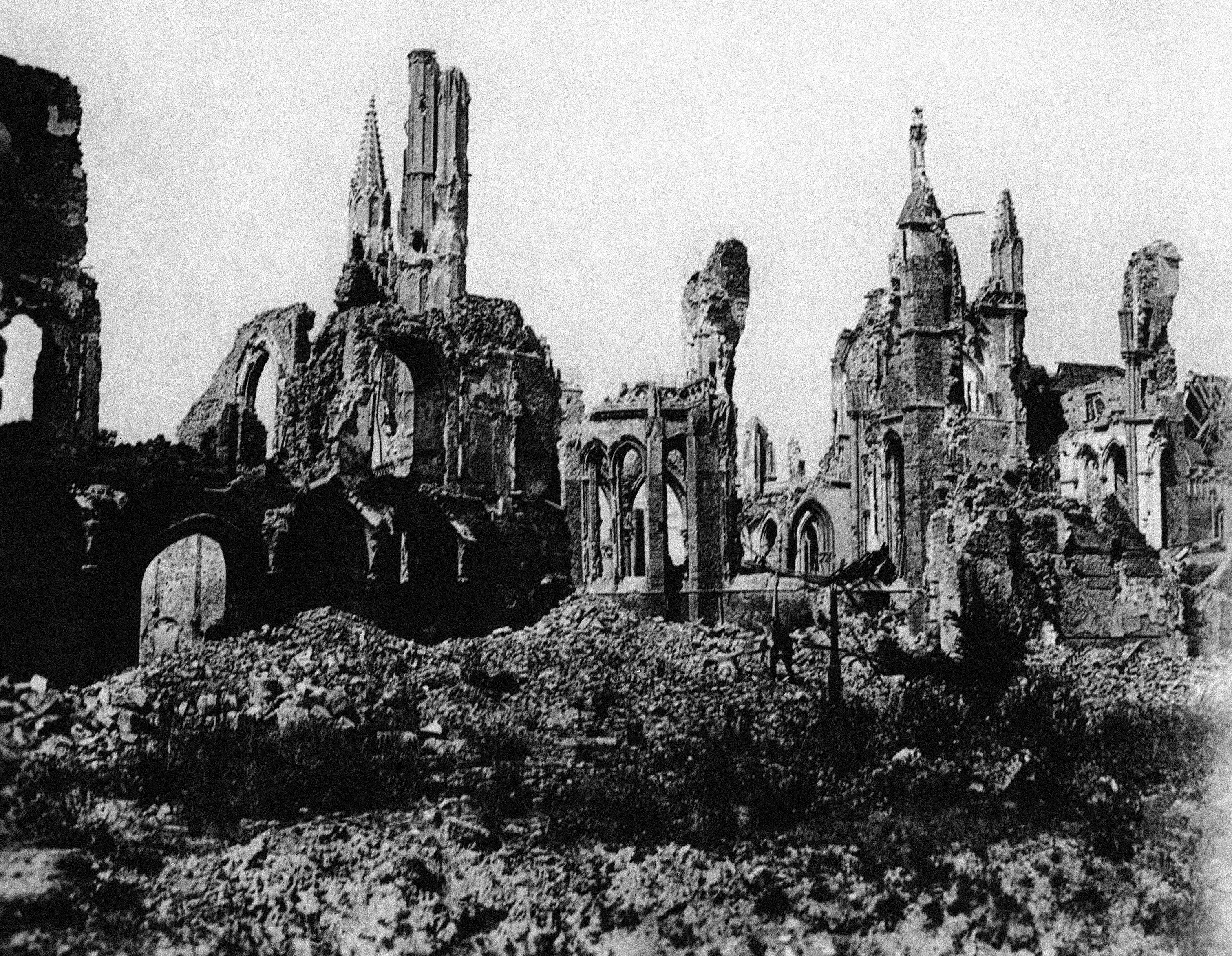 67 OF 100: In this undated file photo, the cathedral in the town square of Ypres, Belgium, is in ruins after bombing in World War I.