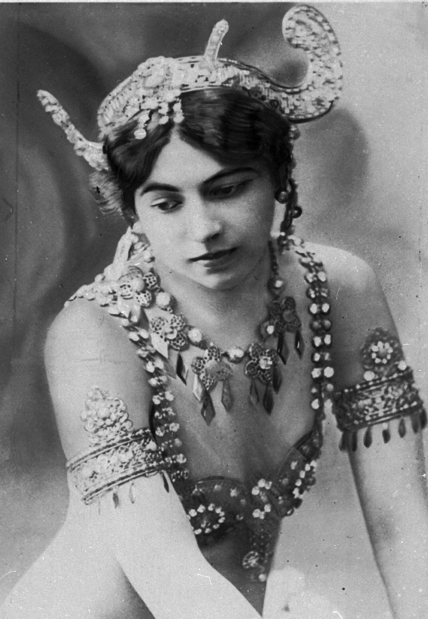 "70 OF 100: In this undated file photo, dancer ""Mata Hari,"" who was born Margaretha Geertruida Zelle poses in an unknown location. Zelle was executed Oct. 15, 1917, during World War I for spying for Germany."