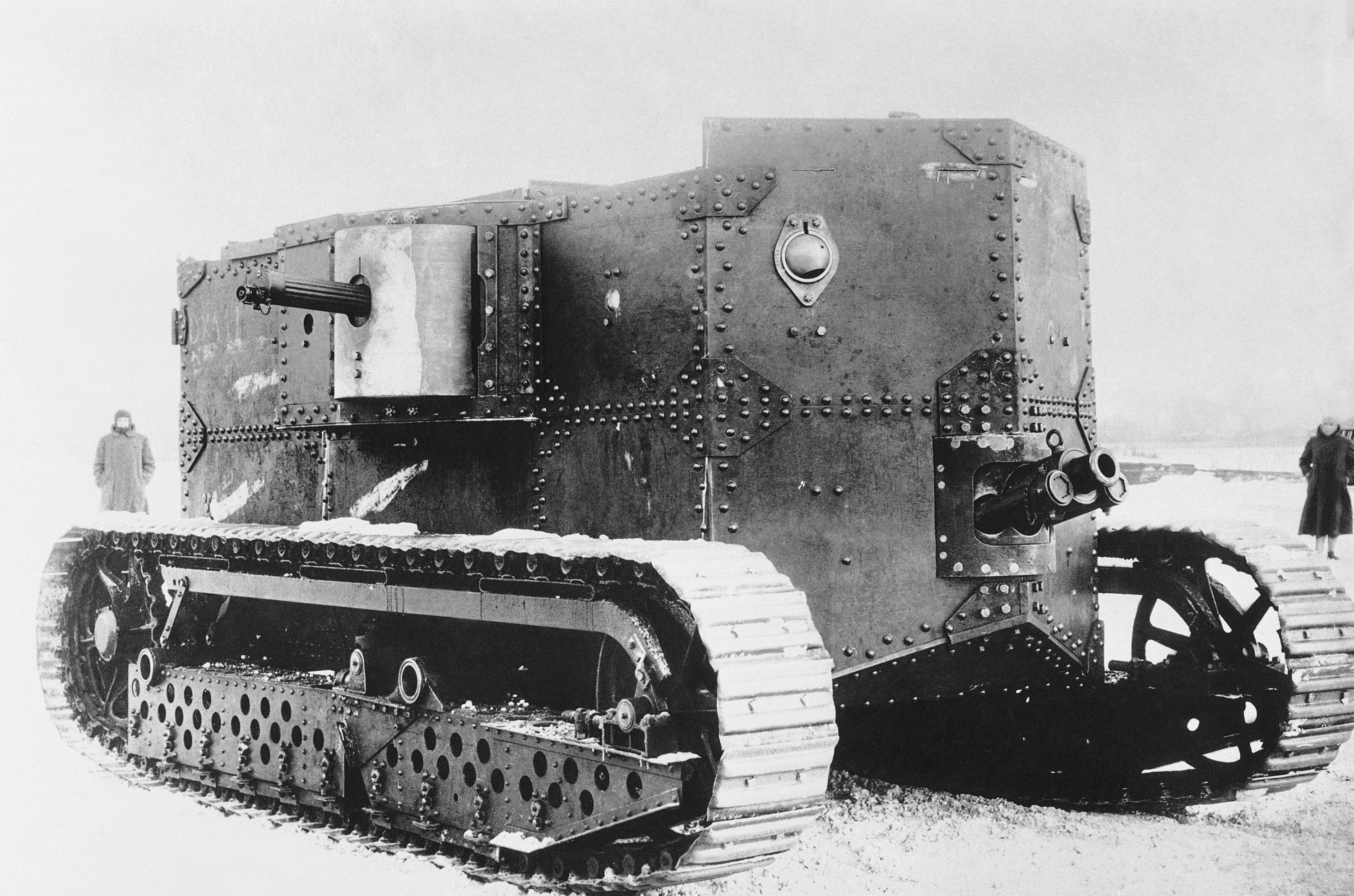 71 OF 100: In this 1917 file photo, an old type tank from World War I. Tanks came into use during World War I and increased the mobility of soldiers who were mainly fighting a trench war. Their design was taken from farm vehicles.