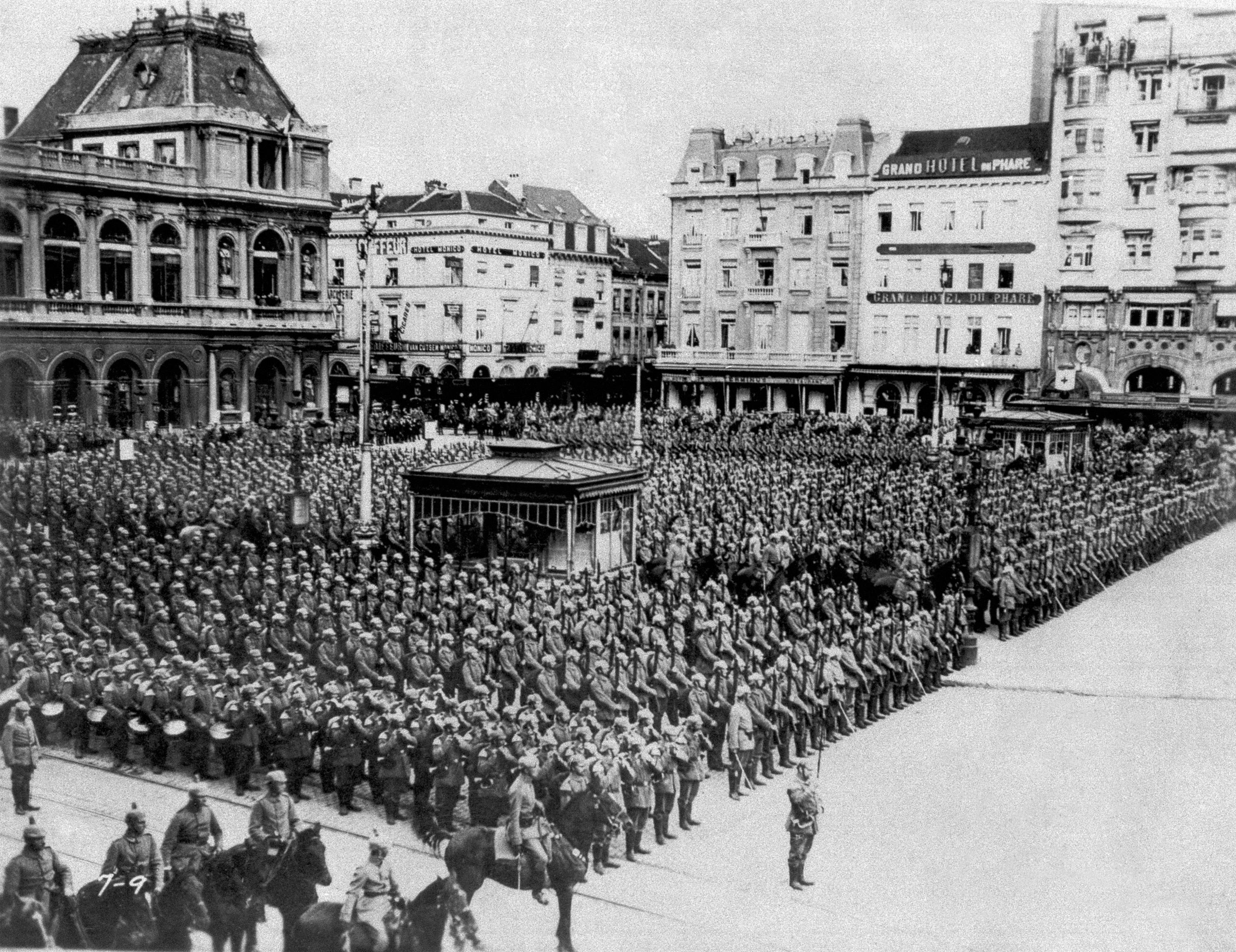 NINE OF 100: In this August 1914 file photo, German troops stand in formation during the occupation of Brussels.