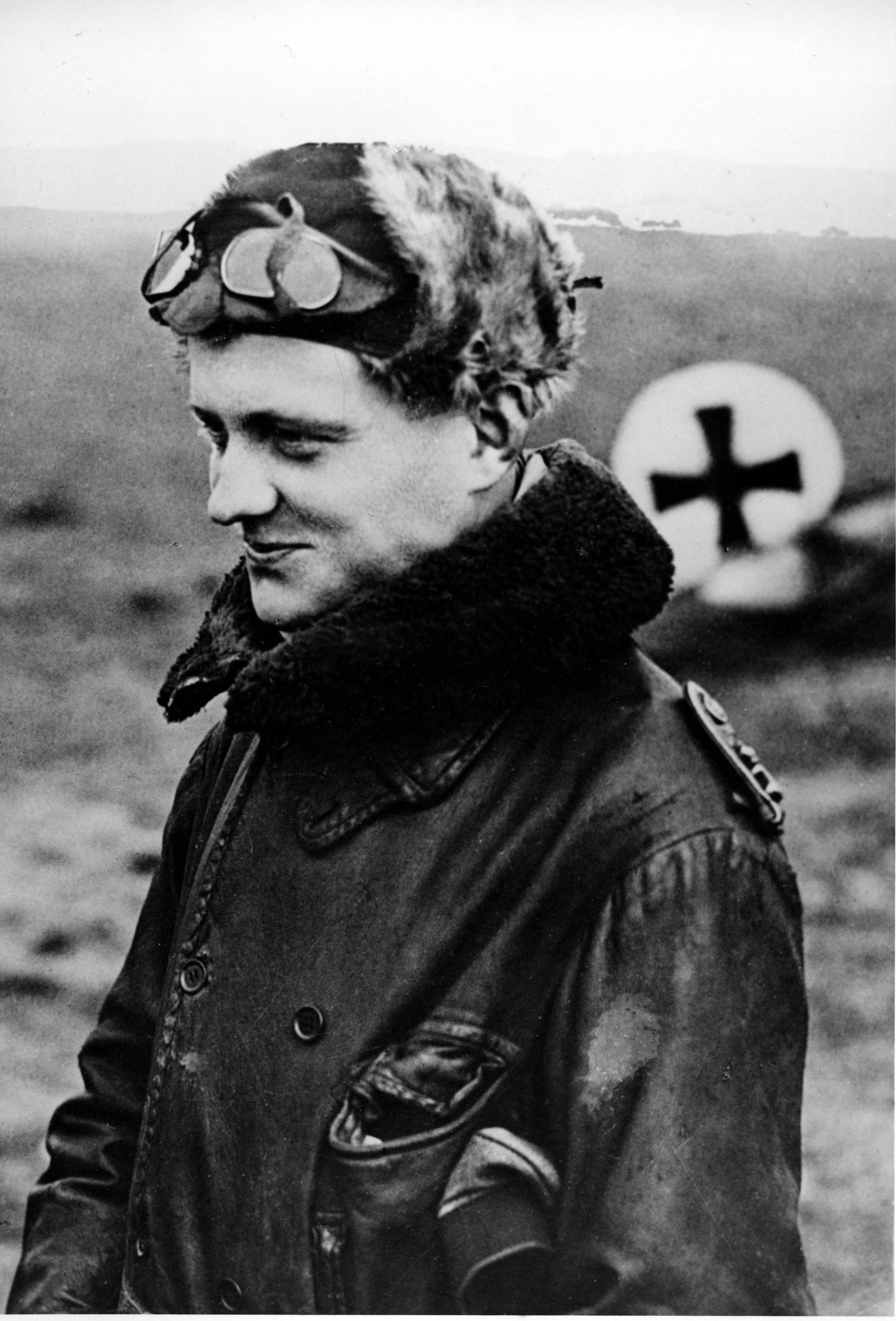 "84 OF 100: In this 1916 file photo, German flying ace Manfred von Richthofen, also known as the ""Red Baron,"" is shown returning from a mission at his squadron's aerodrome. Von Richthofen was shot down and killed over France in April 1918."