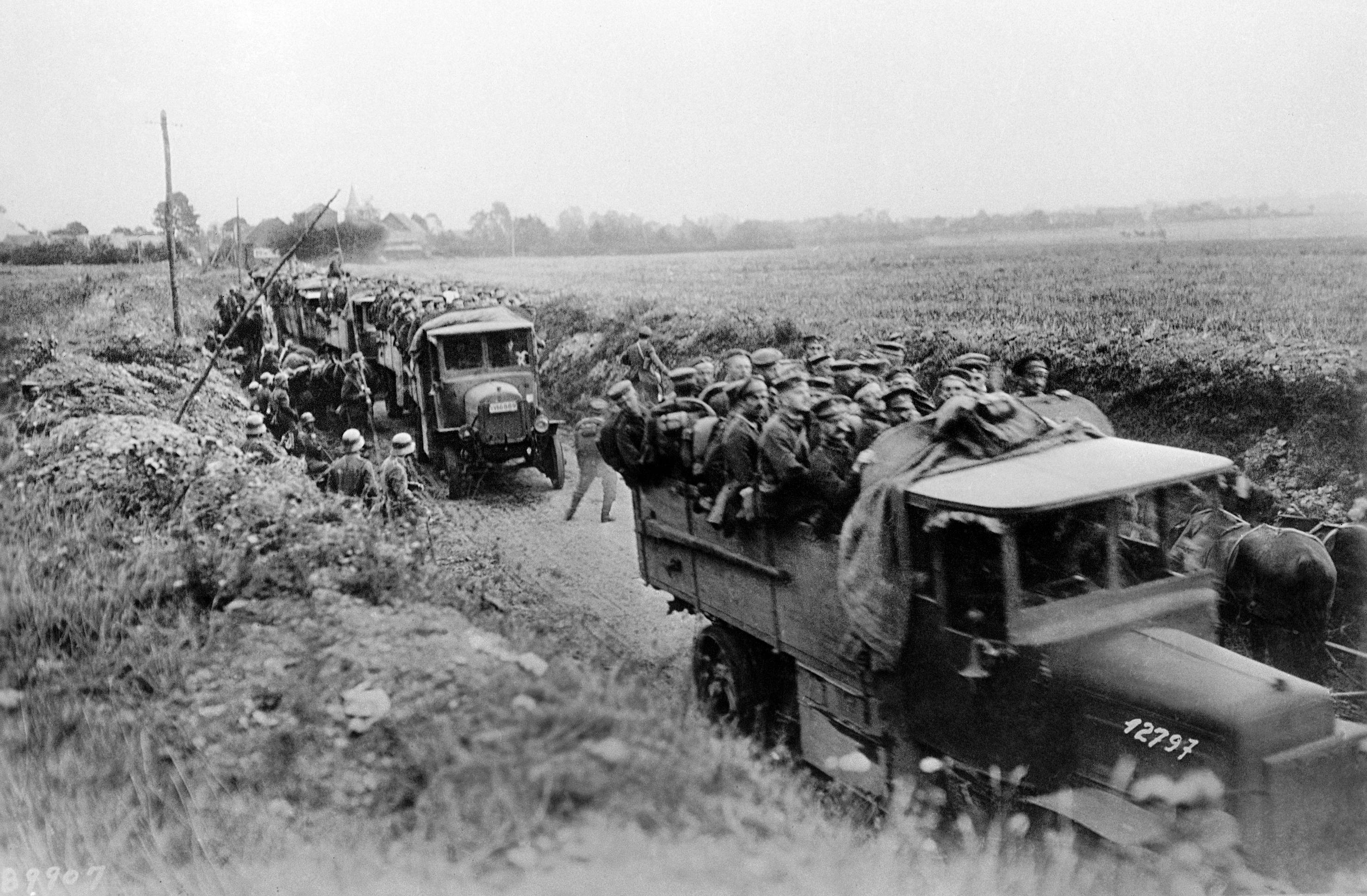 94 OF 100: In this undated file photo, German reserves being rushed to front by trucks in Germany.