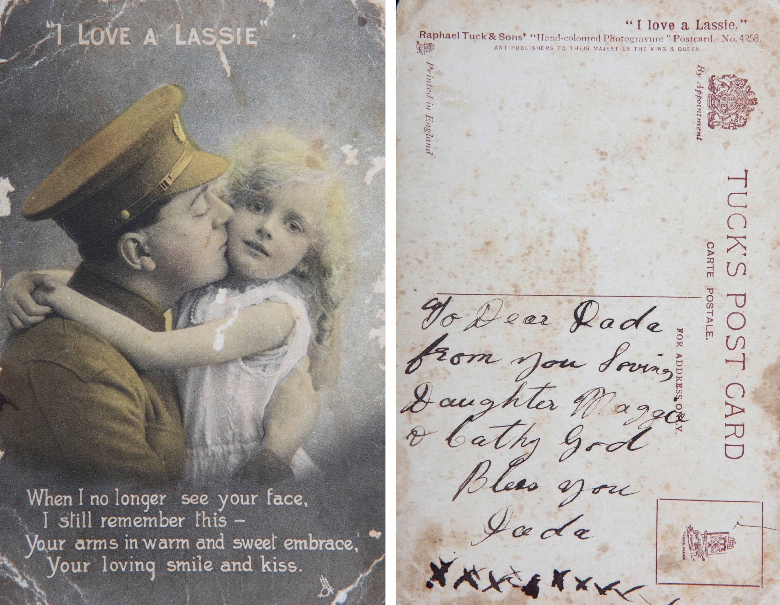 In this combination photo of the front and back of an undated card provided by the family, a daughter writes words to her father, World War I Australian soldier Andrew Bayne, from Brisbane, Australia. Andrew Bayne's journey took him to the battlefields of Bullecourt, Wytschaete, and Ypres before he was killed in action near Messines Ridge, Belgium on Aug. 19, 1917.