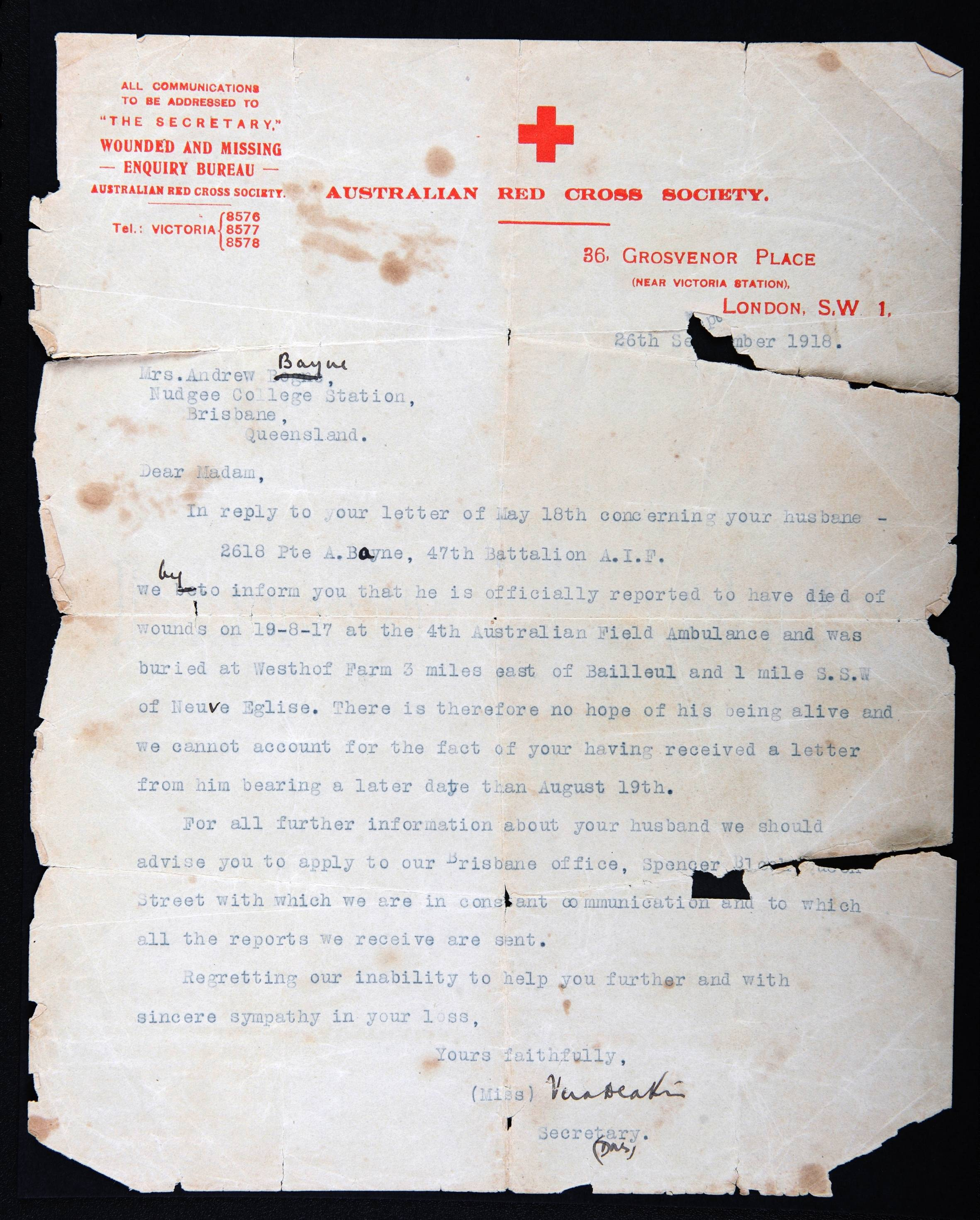 In this photo of a Sept. 26, 1918 letter from the Australian Red Cross, provided by the family, some clarity is made regarding World War I Australian soldier Andrew Bayne. Andrew Bayne's journey took him to the battlefields of Bullecourt, Wytschaete, and Ypres before he was killed in action near Messines Ridge, Belgium on Aug. 19, 1917. Bayne's wife, who received a letter from him after his death, questioned whether her husband had actually been killed. In the years that followed she continued to believe that he was still alive and that he would eventually return home.